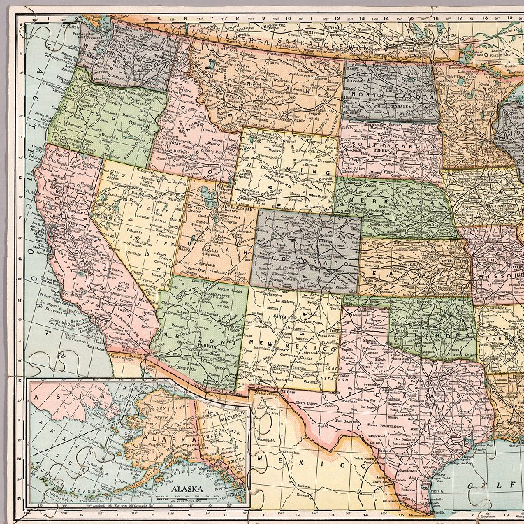 United States map. Die-Cut on State Lines. - David Rumsey ...