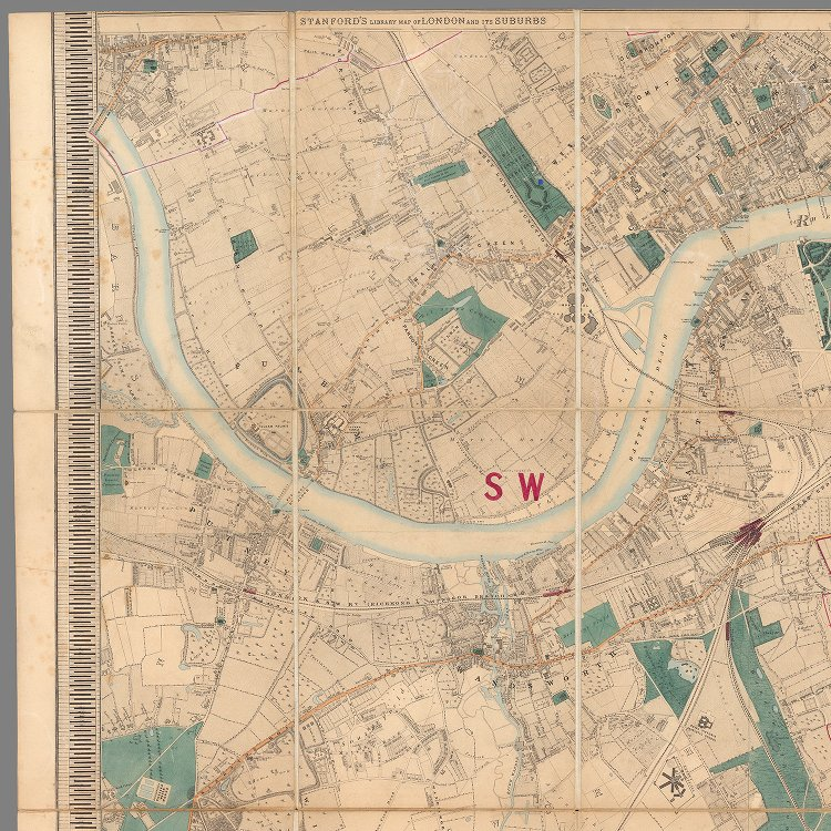 Map Of London And Surrounding Suburbs.South West Sheet Stanford S Library Map Of London And Its Suburbs