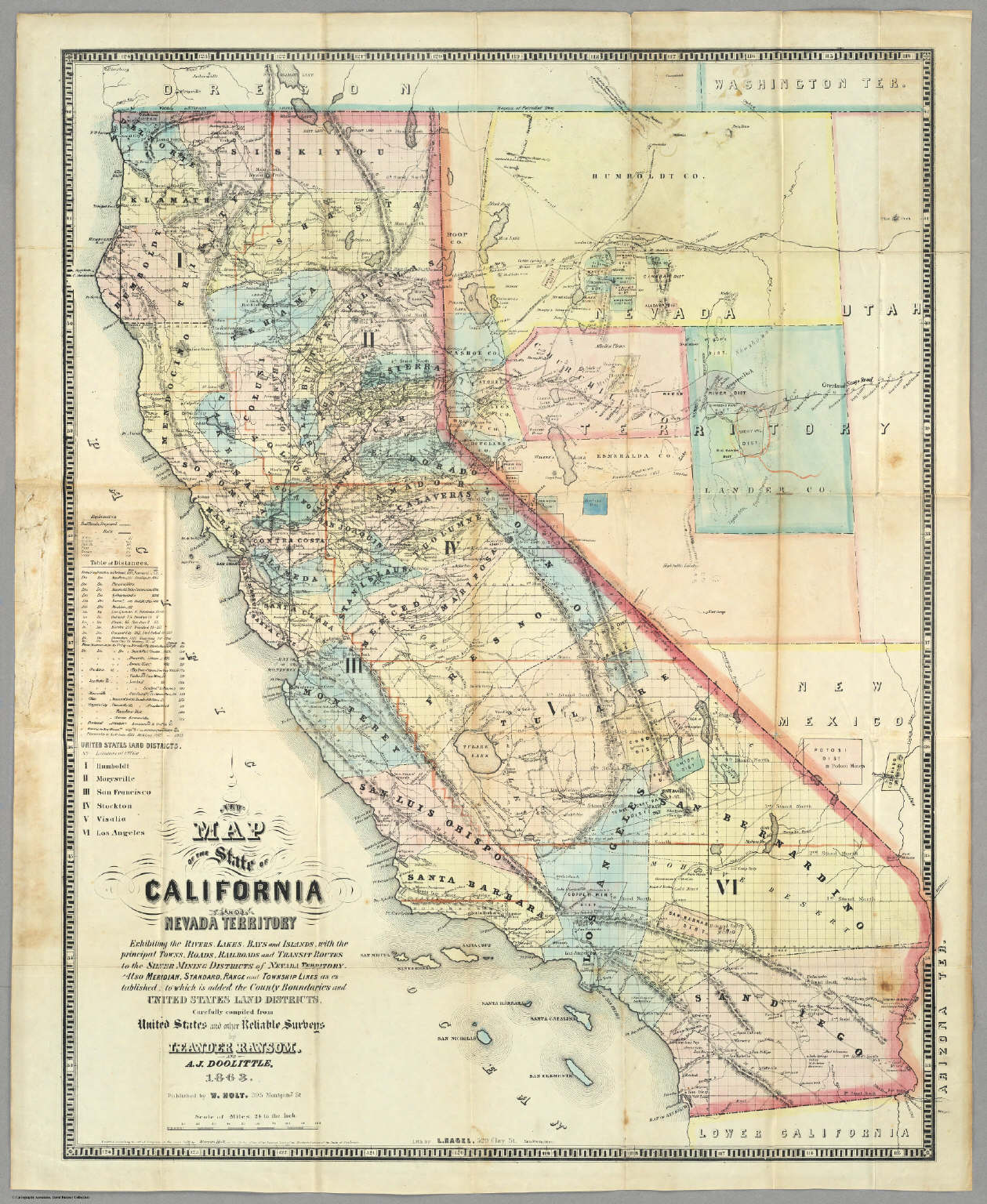 New Map Of The State Of California And Nevada Territory. - David ...