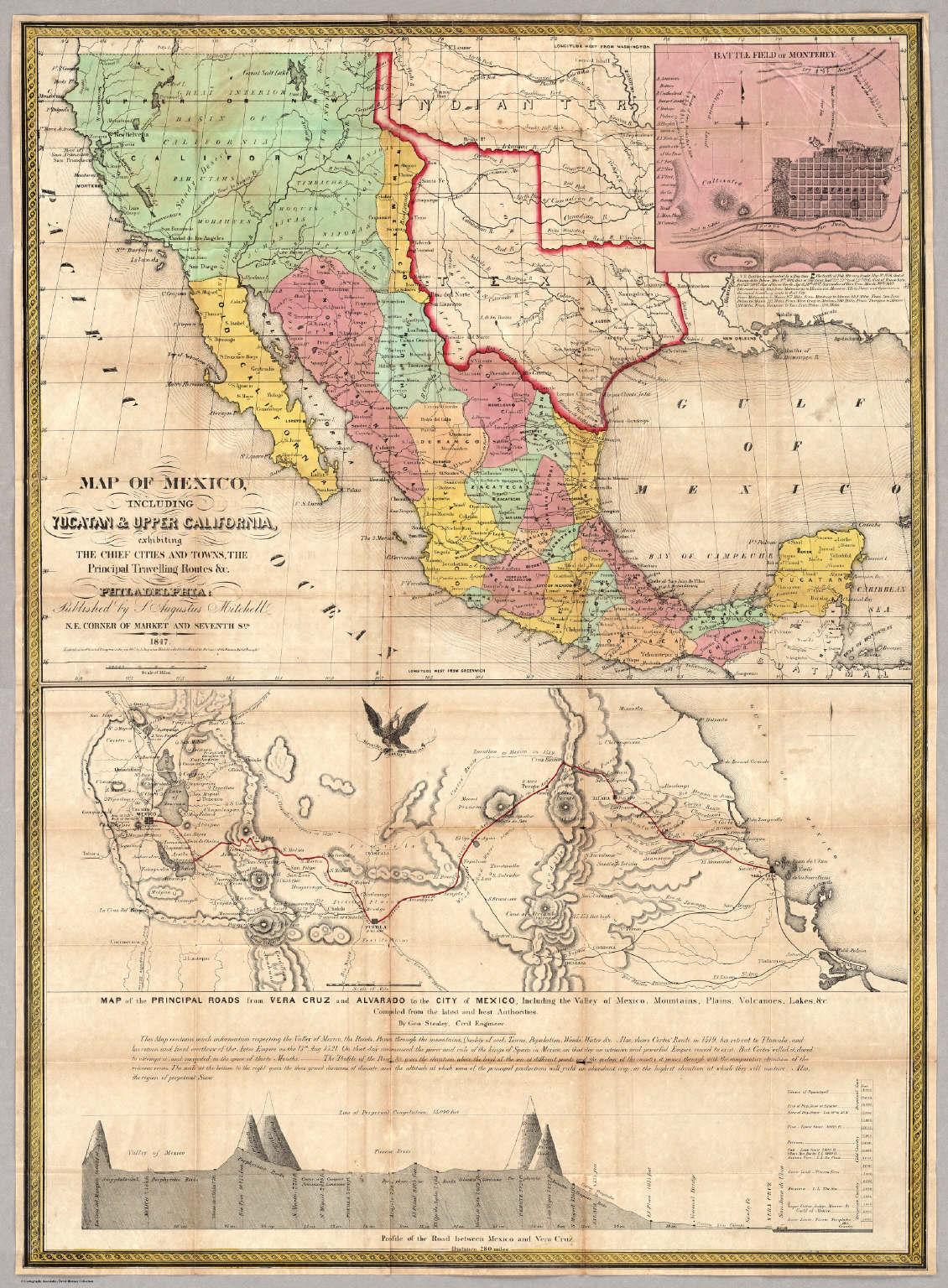 Map Of Mexico, Including Yucatan & Upper California. - David Rumsey ...