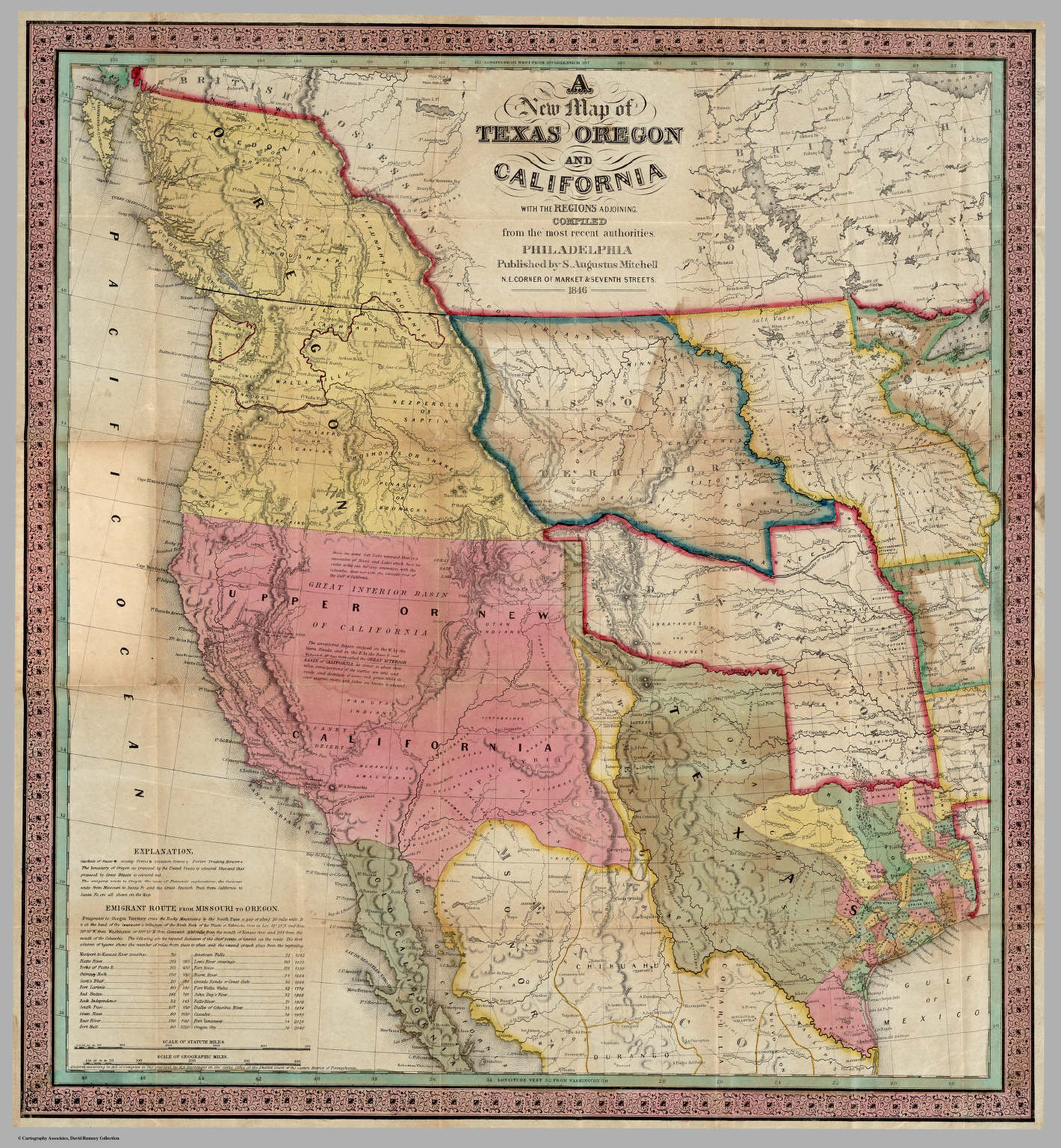 A New Map of Texas Oregon and California With The Regions