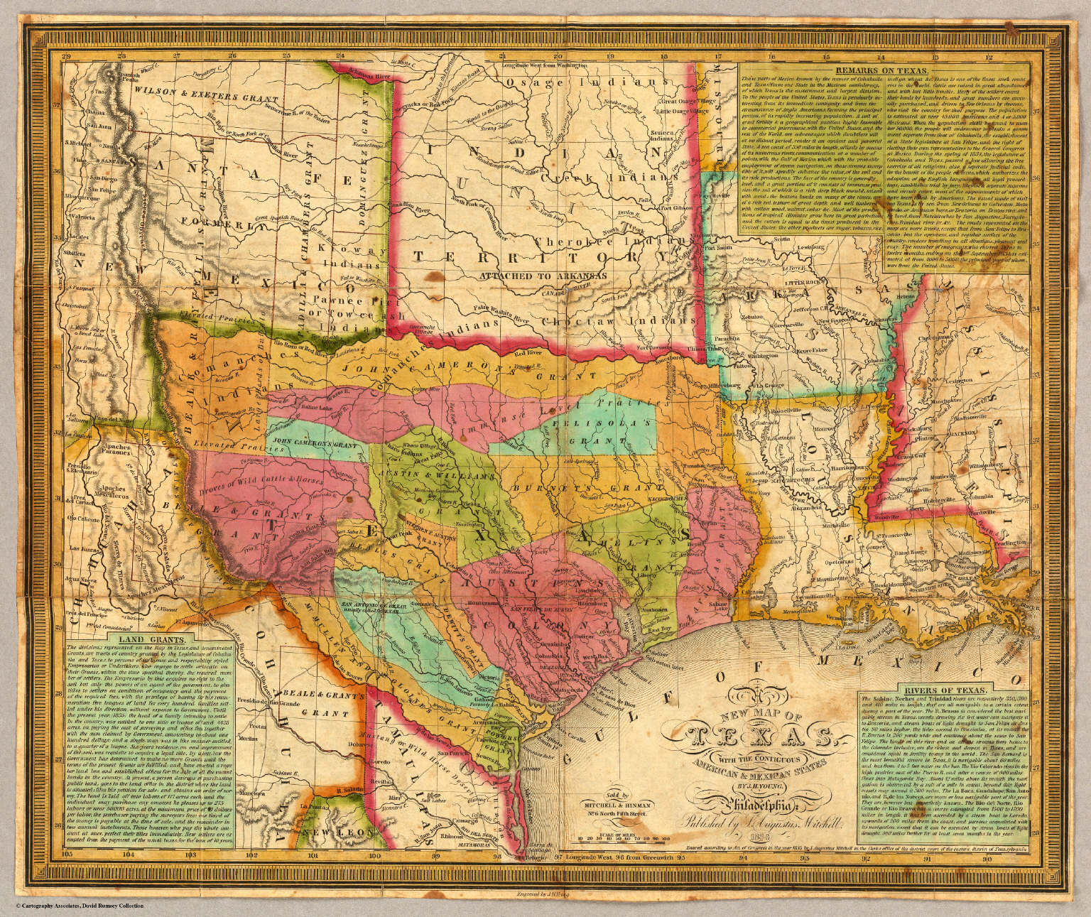 A New Map Of Texas, With The Contiguous American & Mexican States ...