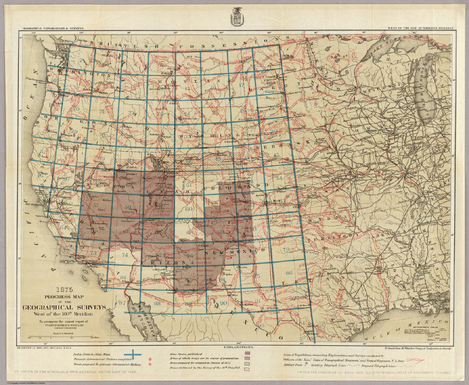 1875 progress map of the geographical surveys west of the 100th meridian