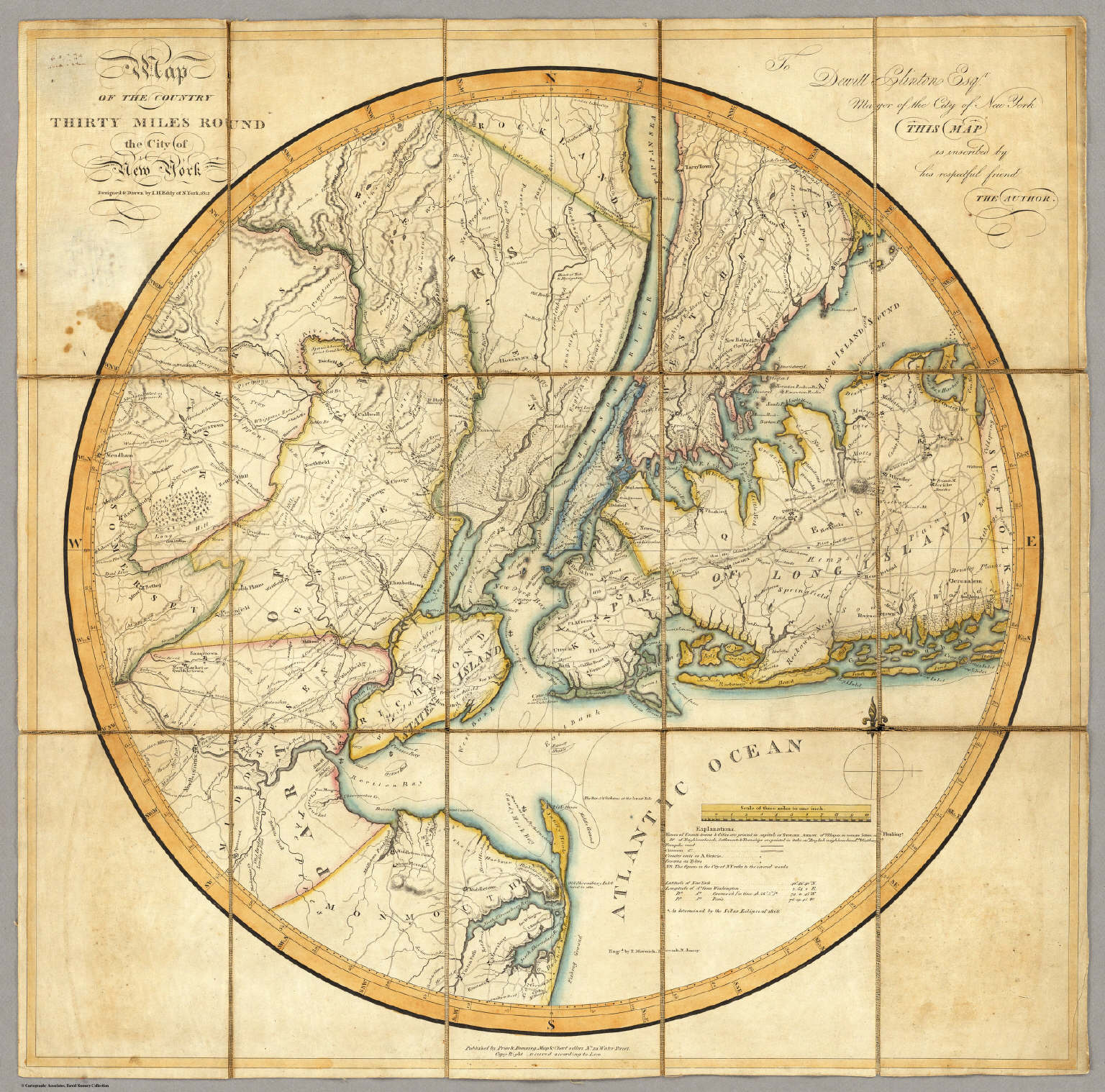 Map Of The Country Thirty Miles Round the City of New York.