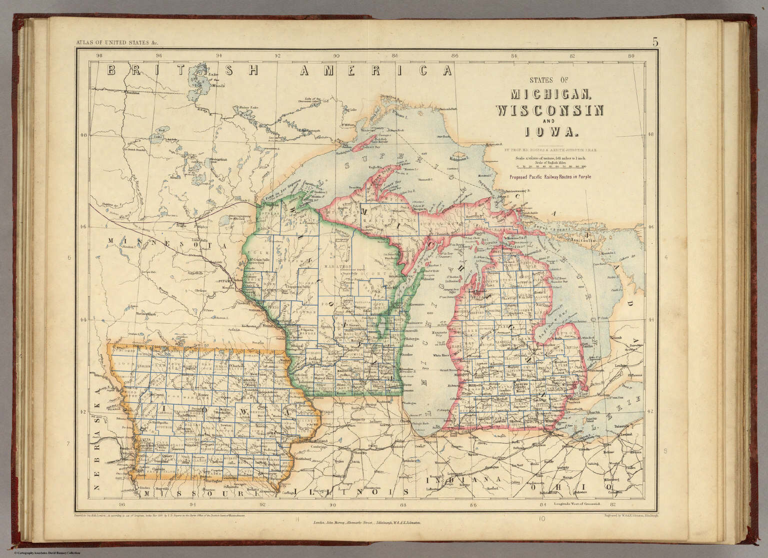 States of Michigan, Wisconsin and Iowa. By Prof. H.D. Rogers & A. Keith Johnston, F.R.S.E. Entered in Sta. Hall. London ... & according to an act of Congress ... 1857, by H.D. Rogers ... Massachusetts. London, John Murray, Albemarle Street, Edinburgh, W. & A.K. Johnston. Engraved by W. & A.K. Johnston, Edinburgh.