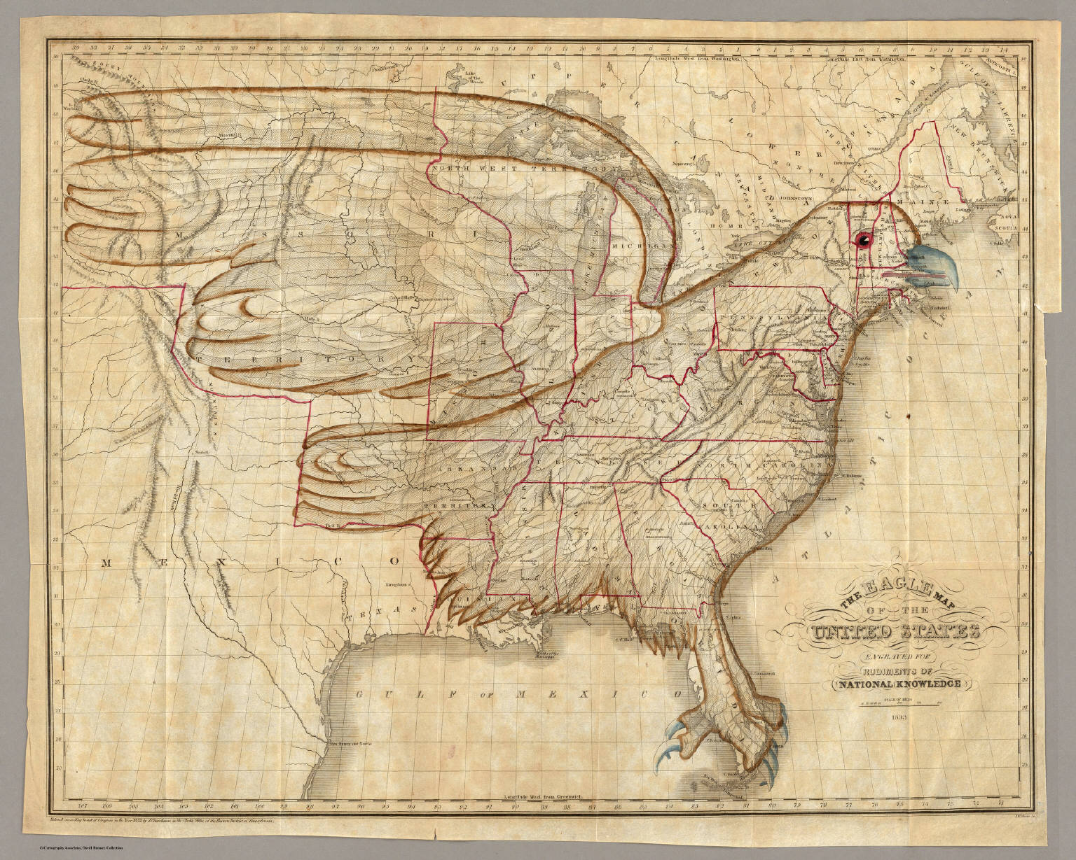 Eagle Map of the United States. / Churchman, Joseph and James ; Moore, I.W.  / 1833