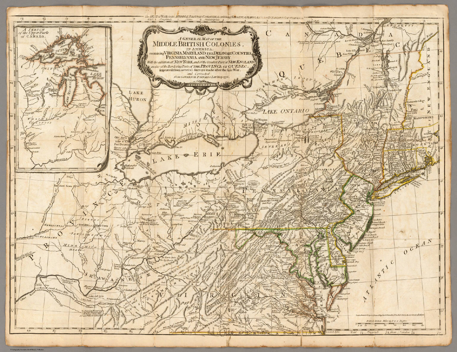 A General Map Of The Middle British Colonies In America Robert