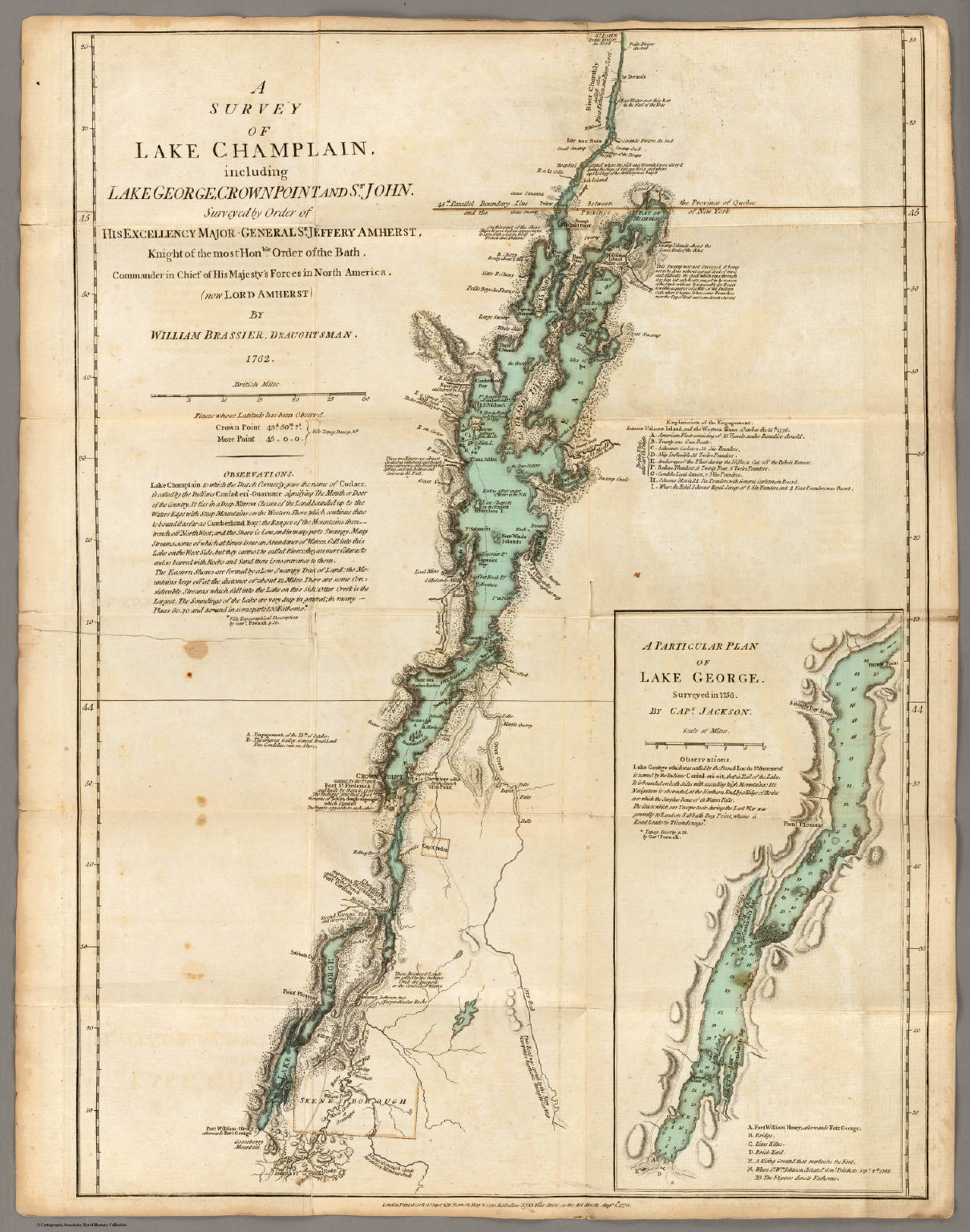 A Survey of Lake Champlain, including Lake George, Crown Point and St. John.