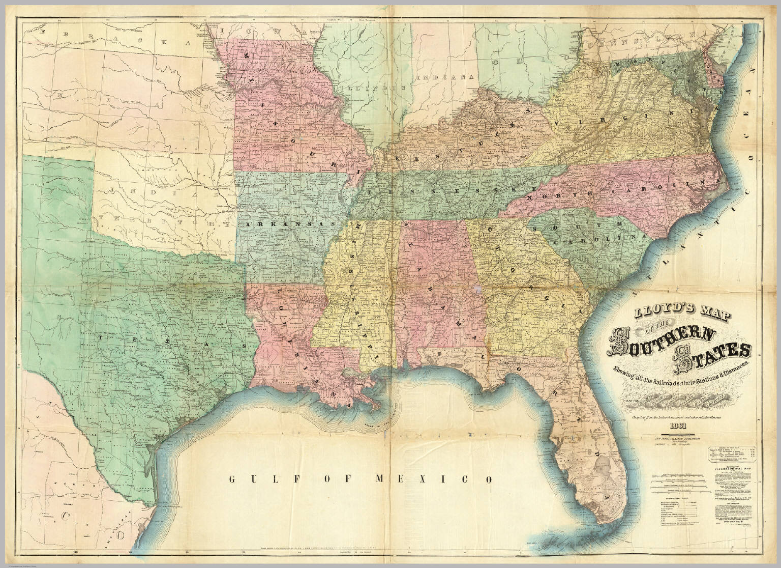 Lloyd's Map Of The Southern States. / Lloyd, J.T. / 1861