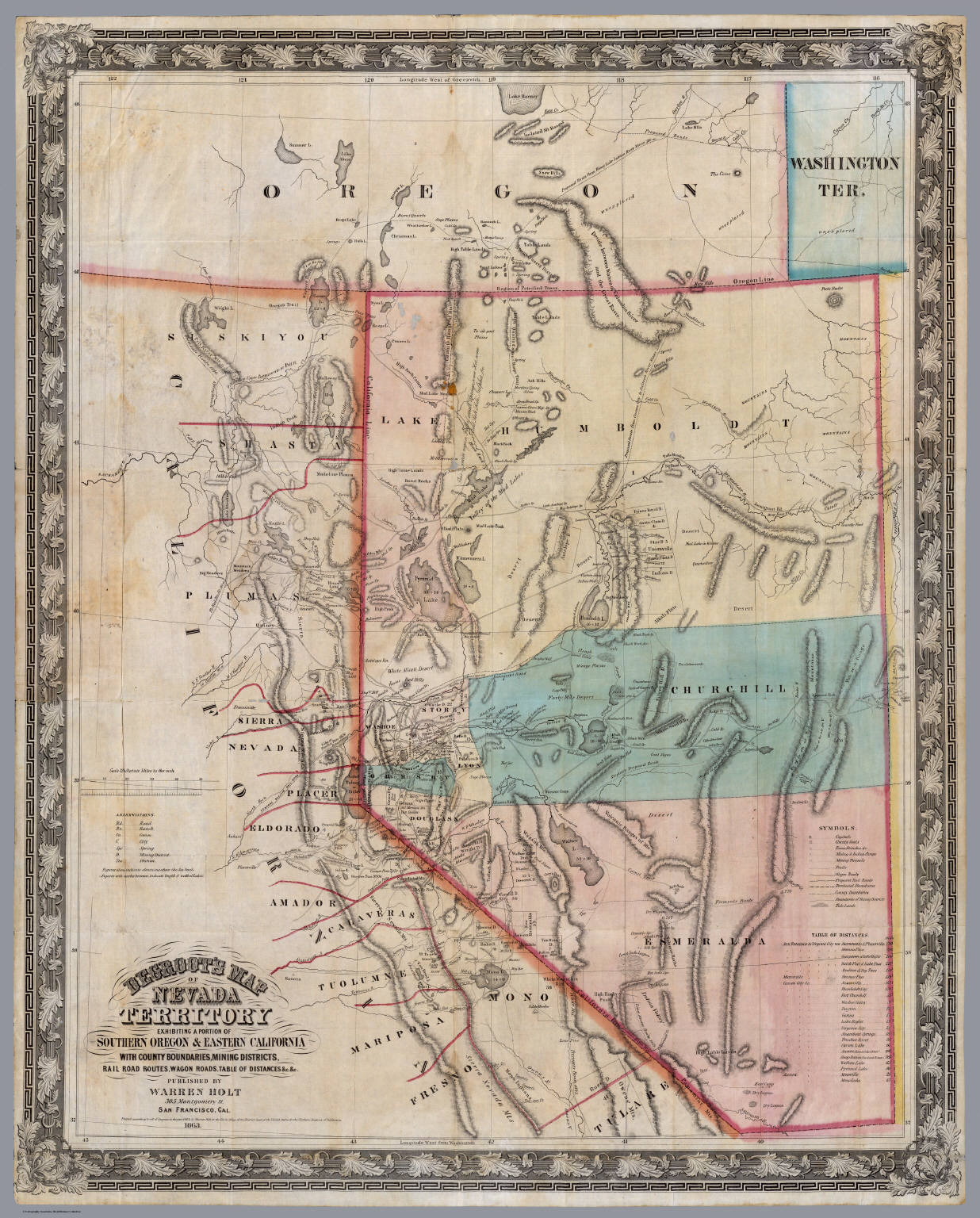 DeGroot\'s Map Of Nevada Territory. - David Rumsey Historical Map ...