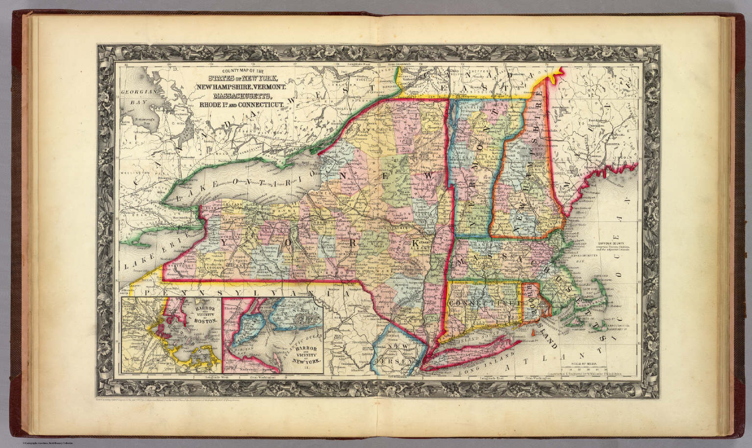 County Map Of The States Of New York, New Hampshire, Vermont ...