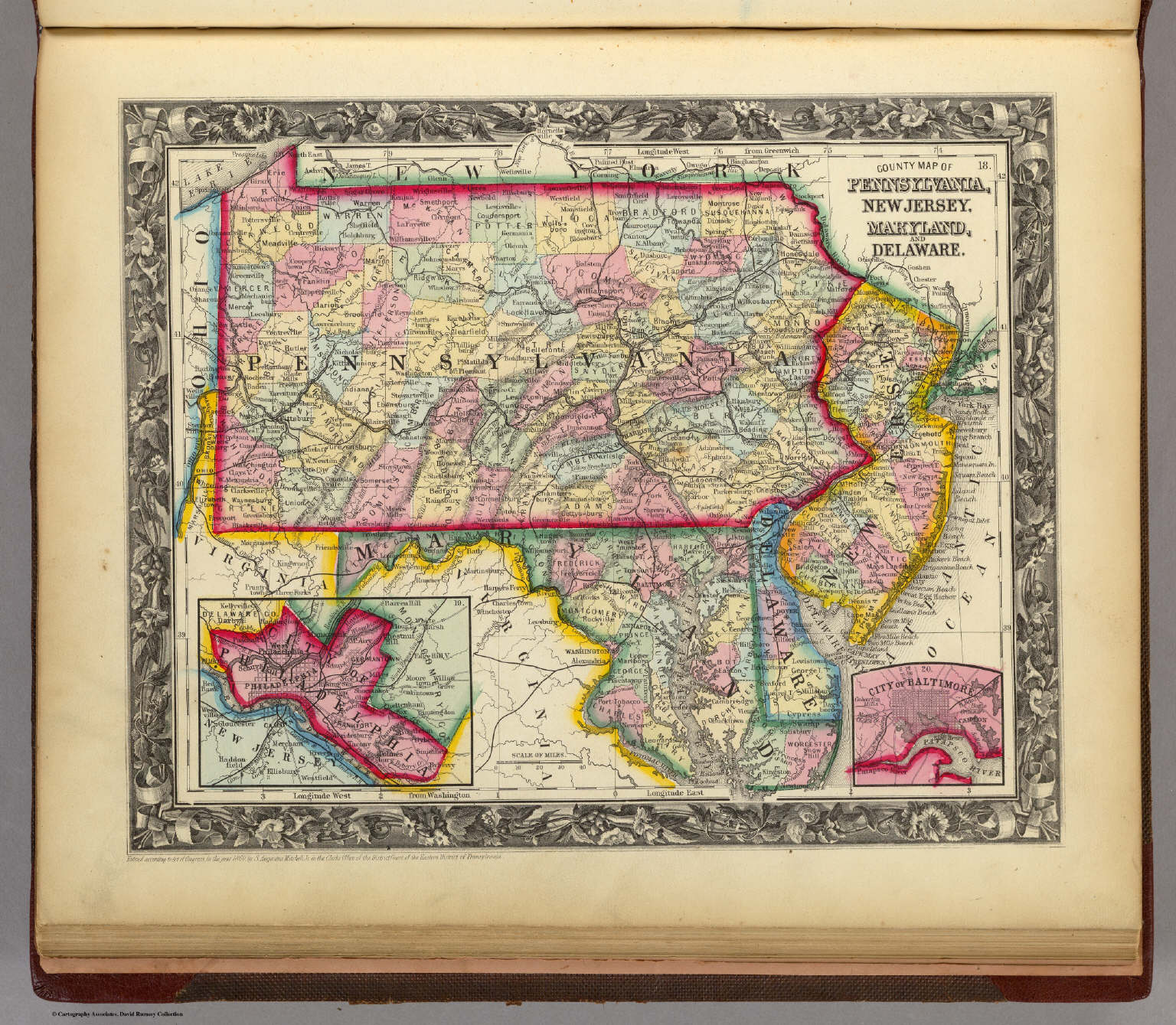 County Map Of Pennsylvania, New Jersey, Maryland, And Delaware ...