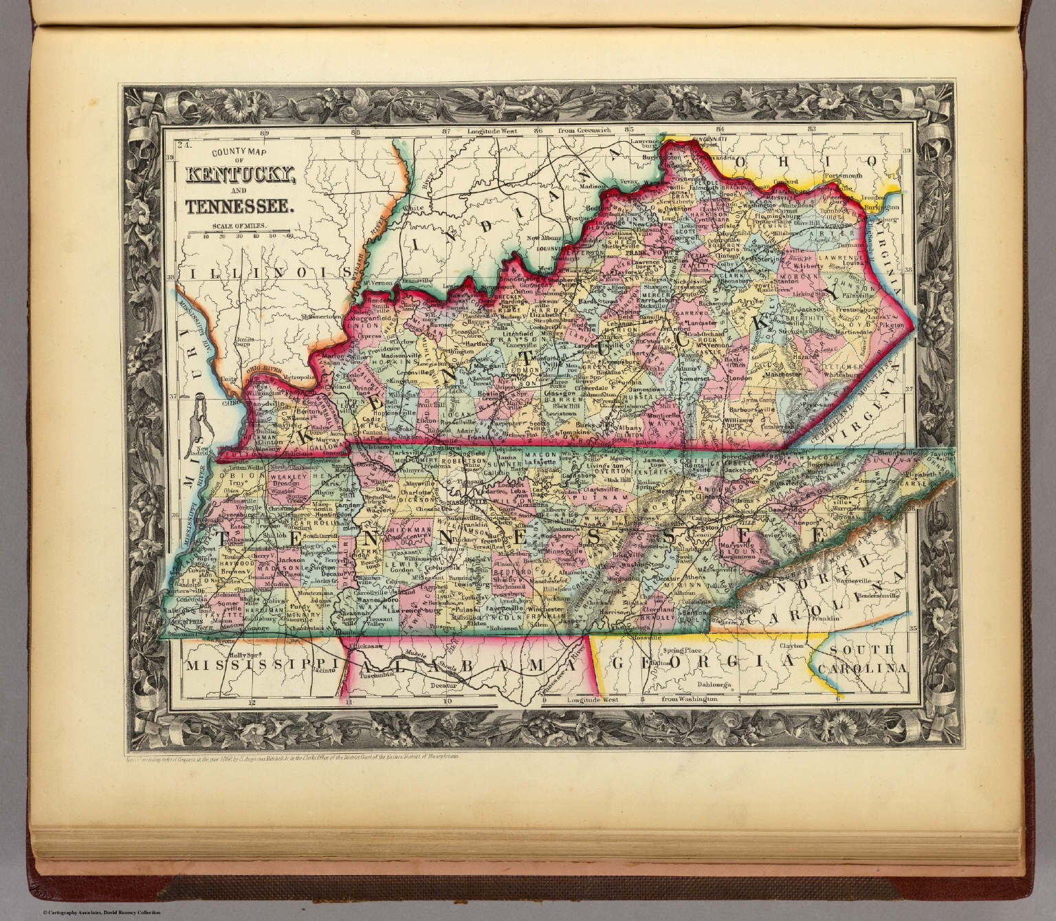 County Map Of Kentucky And Tennessee David Rumsey Historical Map