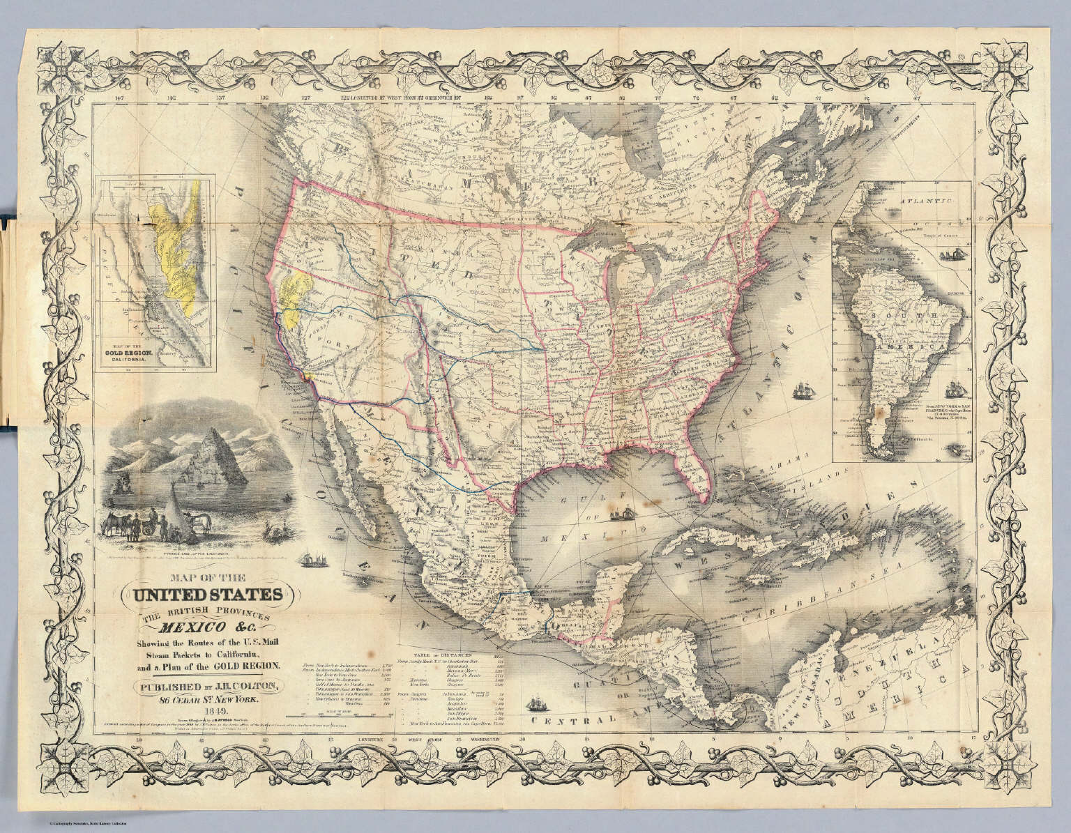 map of the united states the british provinces mexico c