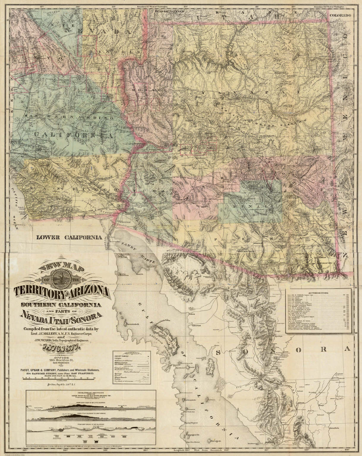 Map Of Arizona Utah Border.New Map Of The Territory Of Arizona Southern California And Parts