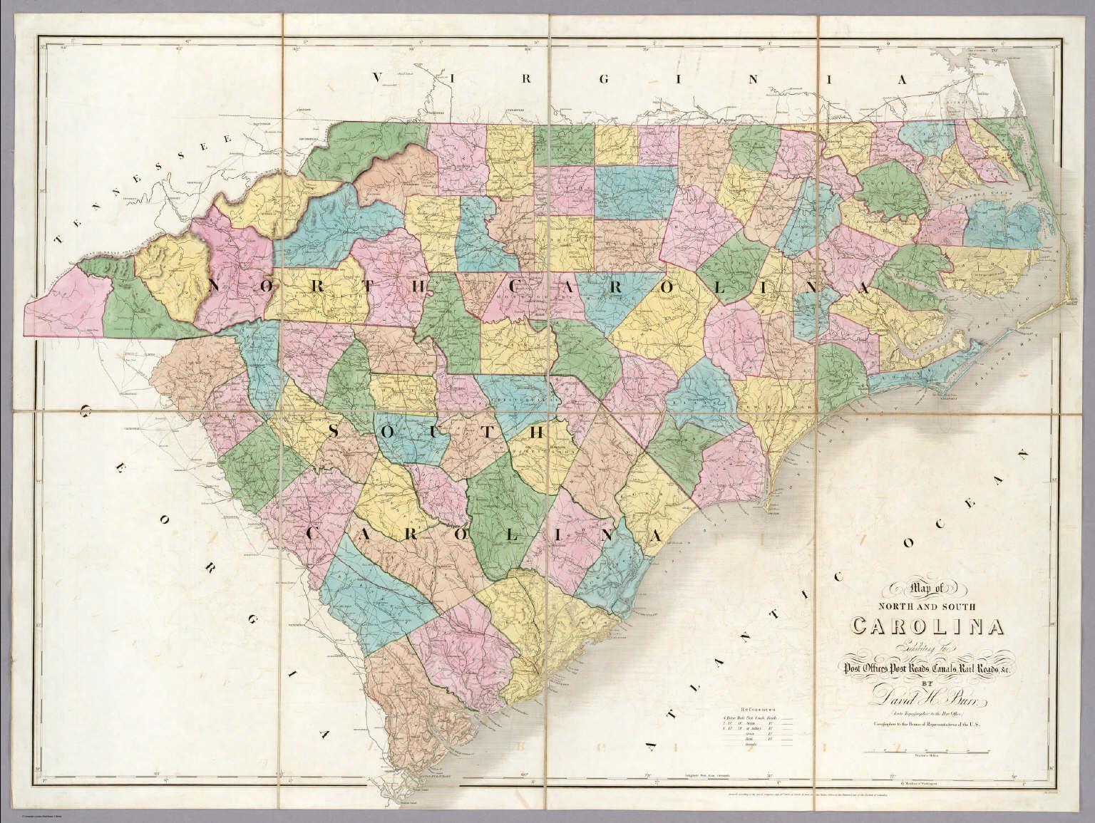Map Of North And South Carolina Map of North And South Carolina.   David Rumsey Historical Map  Map Of North And South Carolina