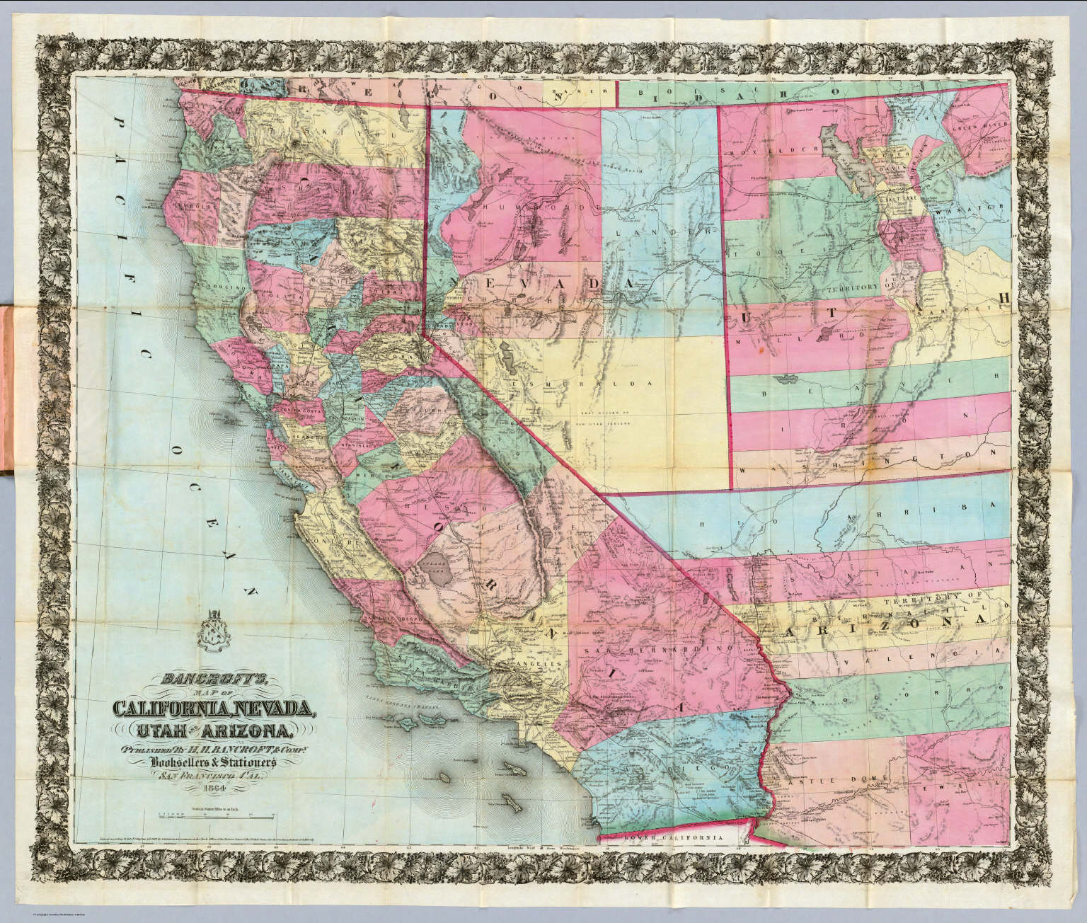 Map Of Arizona Nevada.Bancroft S Map Of California Nevada Utah And Arizona Bancroft