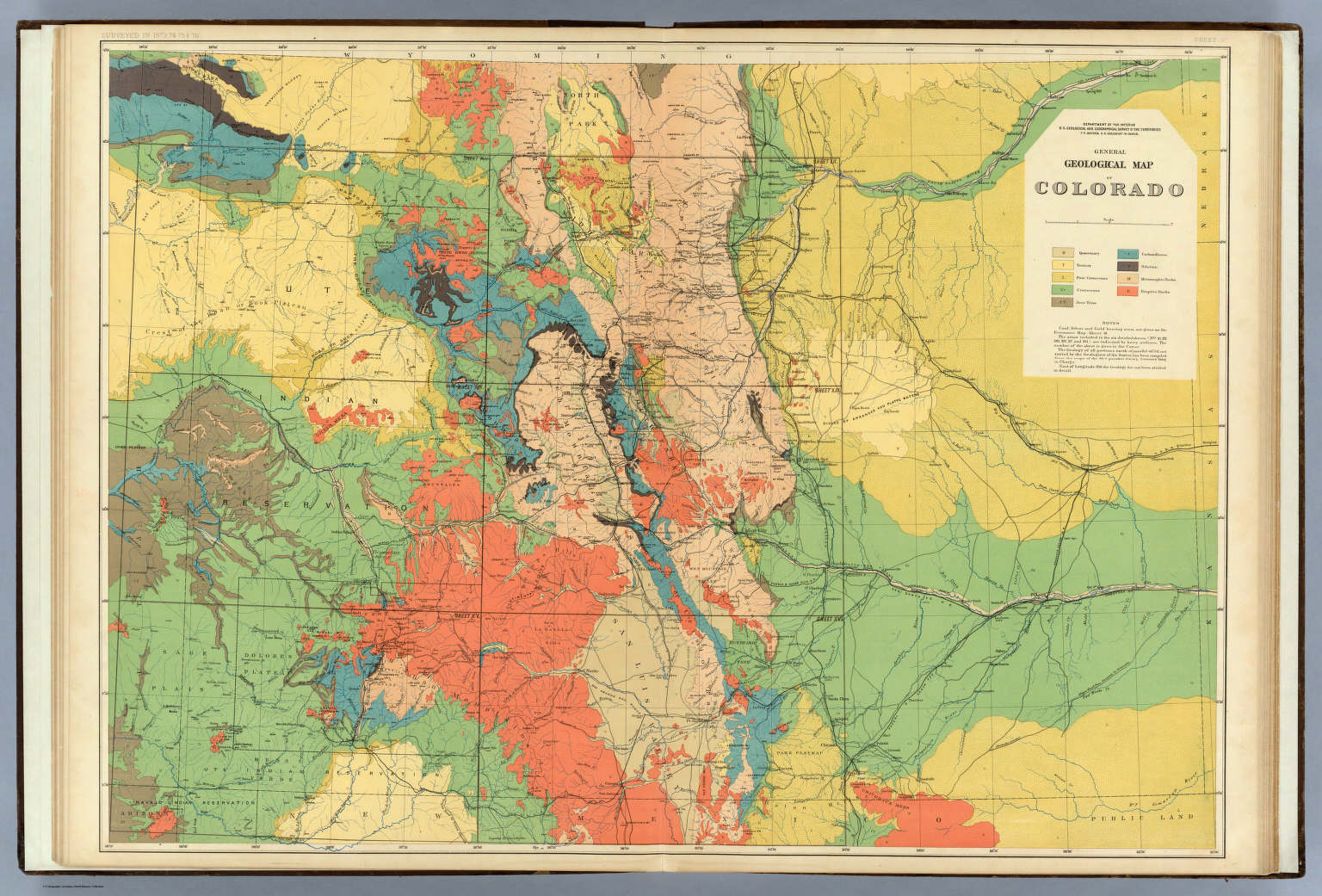Geologic Map Of Colorado General Geological Map of Colorado. / Hayden, F.V. / 1881
