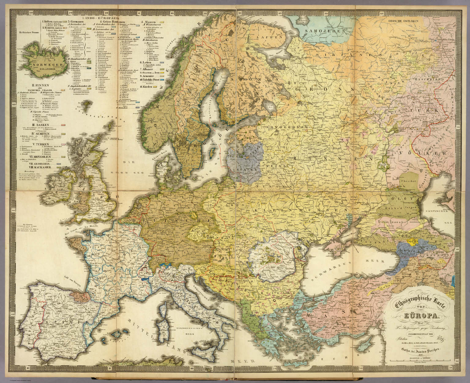 Ethnographische Karte von Europa.