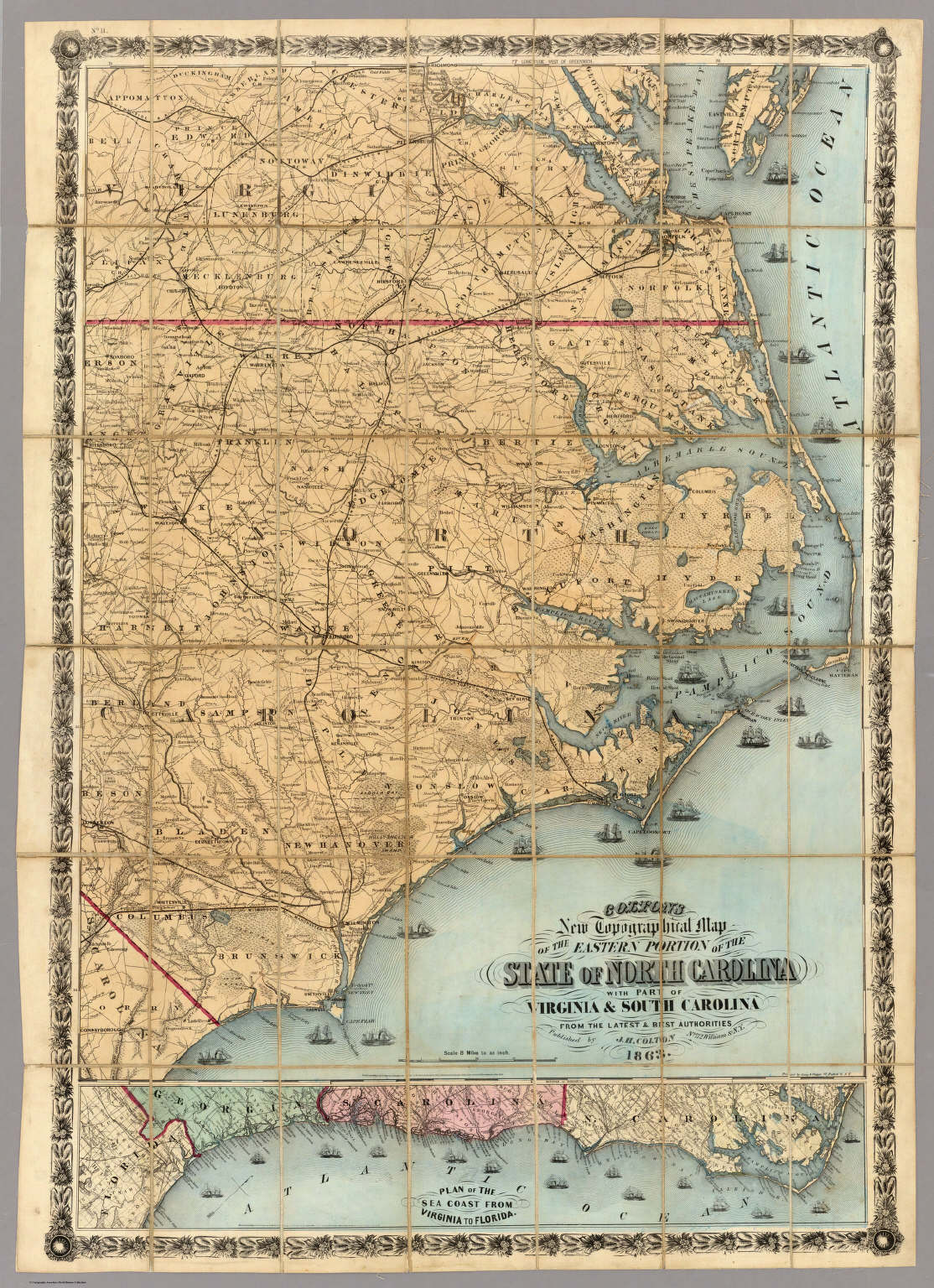 North Carolina With Part Of Virginia & South Carolina. - David ...