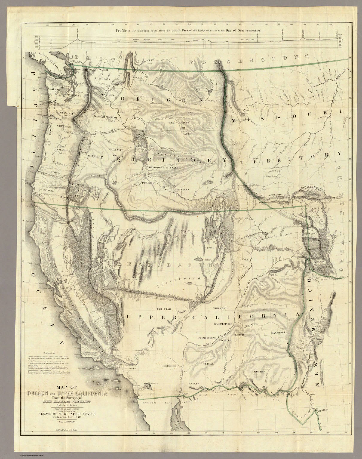 Of Oregon And Upper California Fremont JC 1848