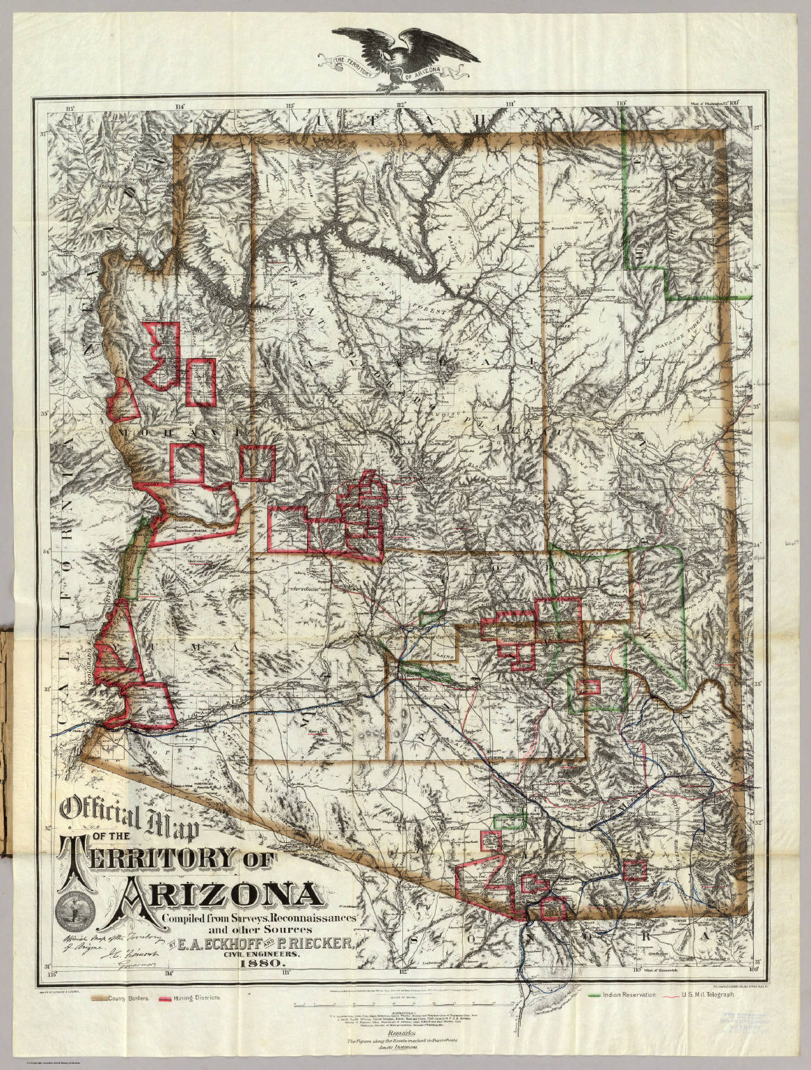 Map Of Arizona 1880.Official Map Of The Territory Of Arizona Eckhoff E A Riecker