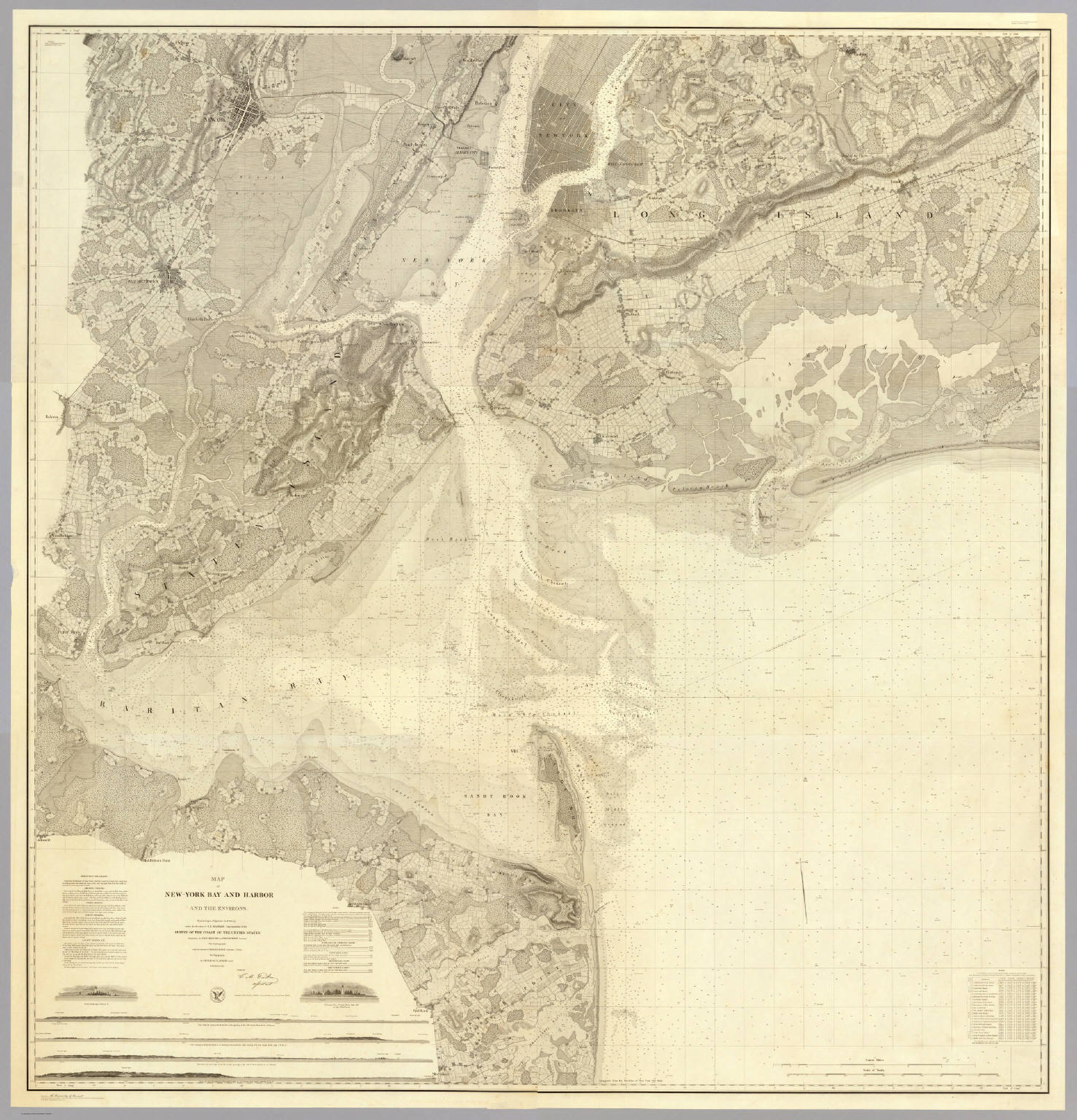 Map Of New York Harbour.Map Of New York Bay And Harbor And The Environs David Rumsey