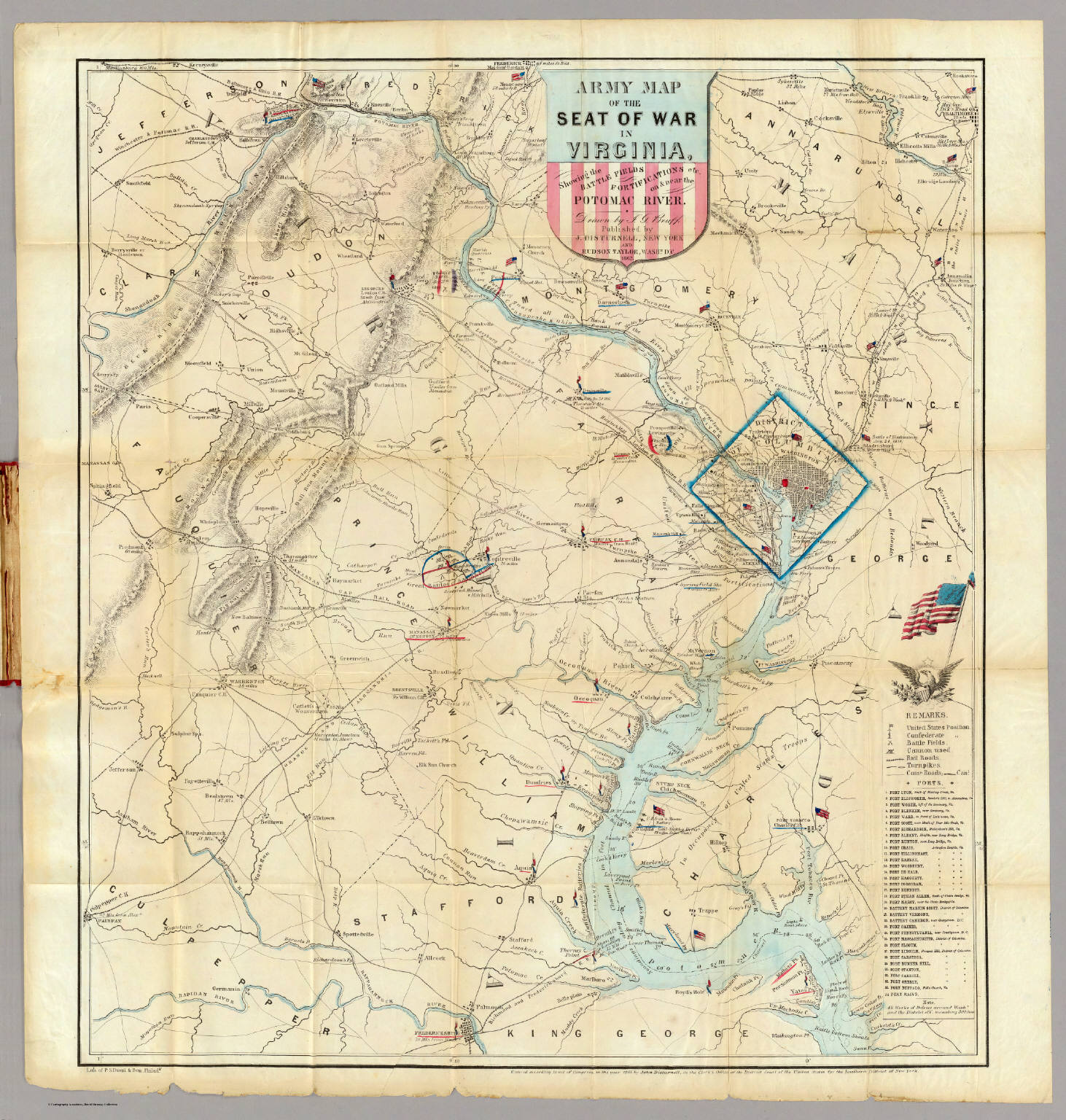 Army Map Of The Seat Of War In Virginia. - David Rumsey Historical Civil War Map Virginia on
