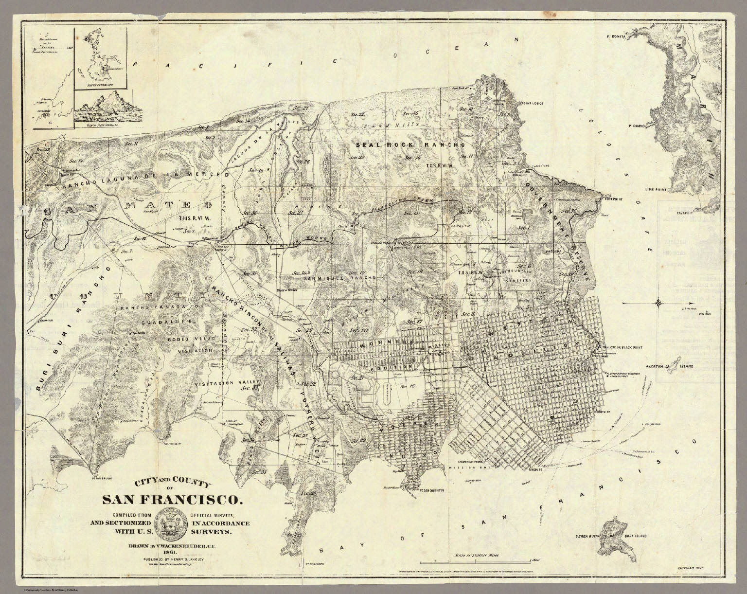 image regarding Printable Map of San Francisco called Town And County Of San Francisco. - David Rumsey Historic