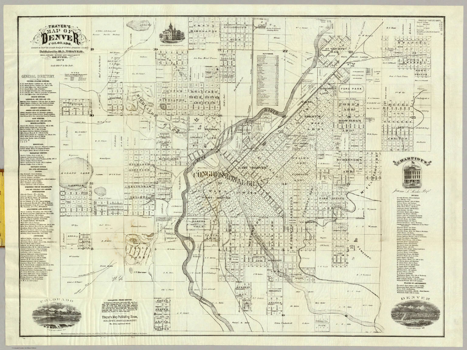 Thayer\'s Map of Denver Colorado. / Thayer, H.L. / 1879