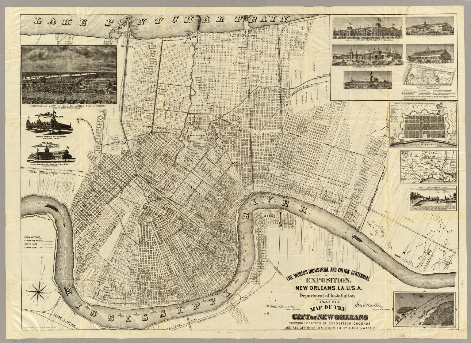 graphic relating to Printable Maps of New Orleans titled The Worlds Commercial And Cotton Centennial Exposition