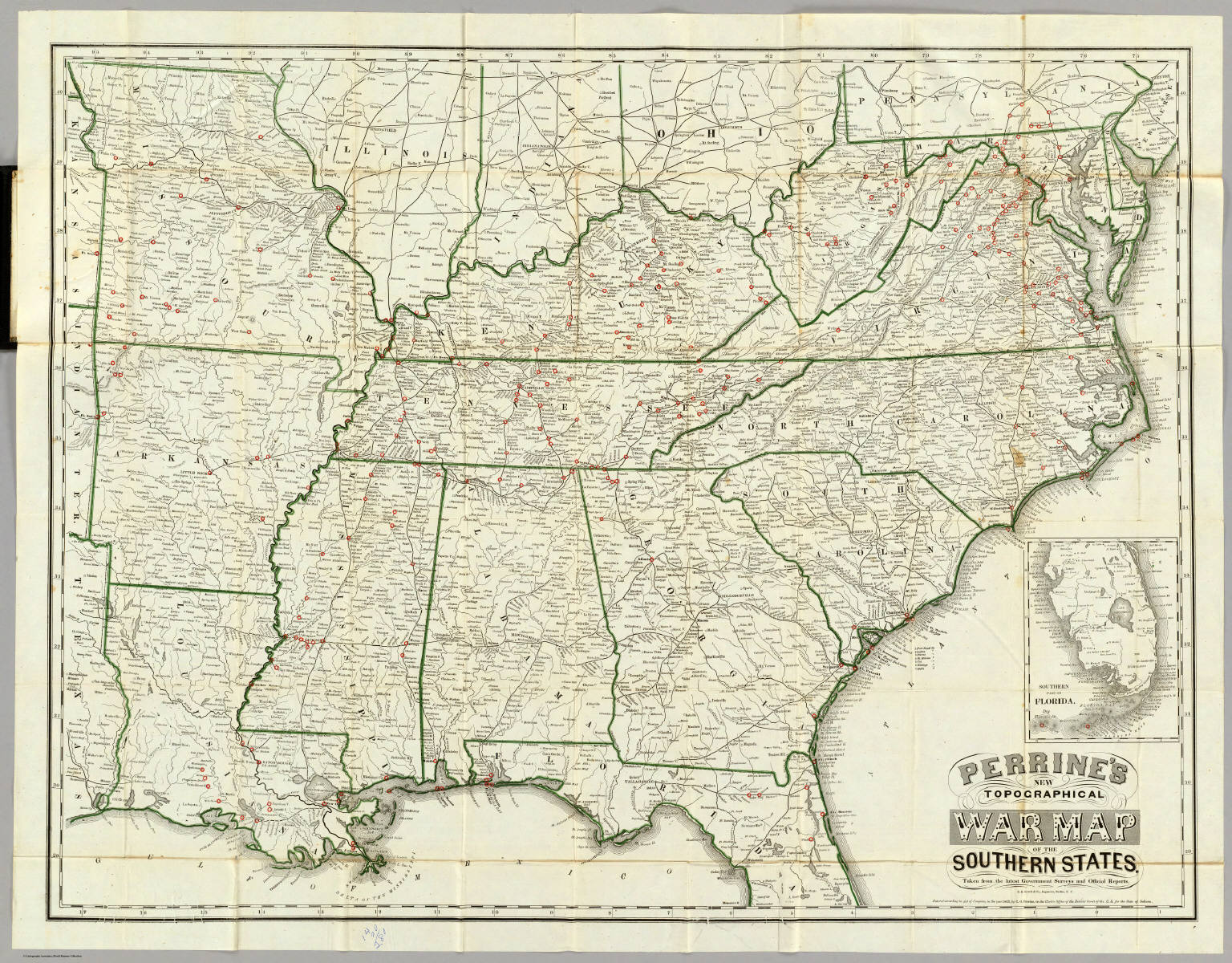 Southern State Map.Perrine S New Topographical War Map Of The Southern States David