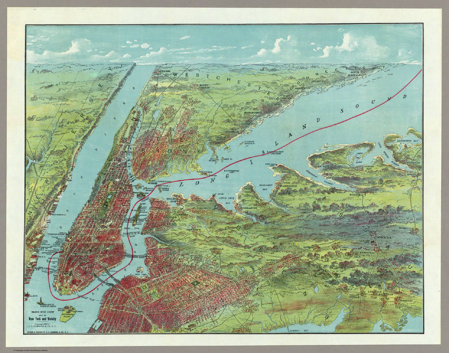 Birds Eye View Map Of New York And Vicinity. - David Rumsey ...