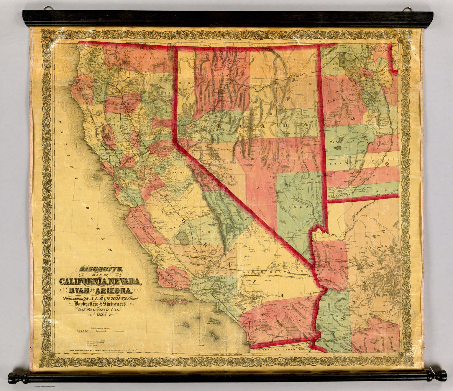 Map Of Nevada And Arizona.Bancroft S Map Of California Nevada Utah And Arizona David