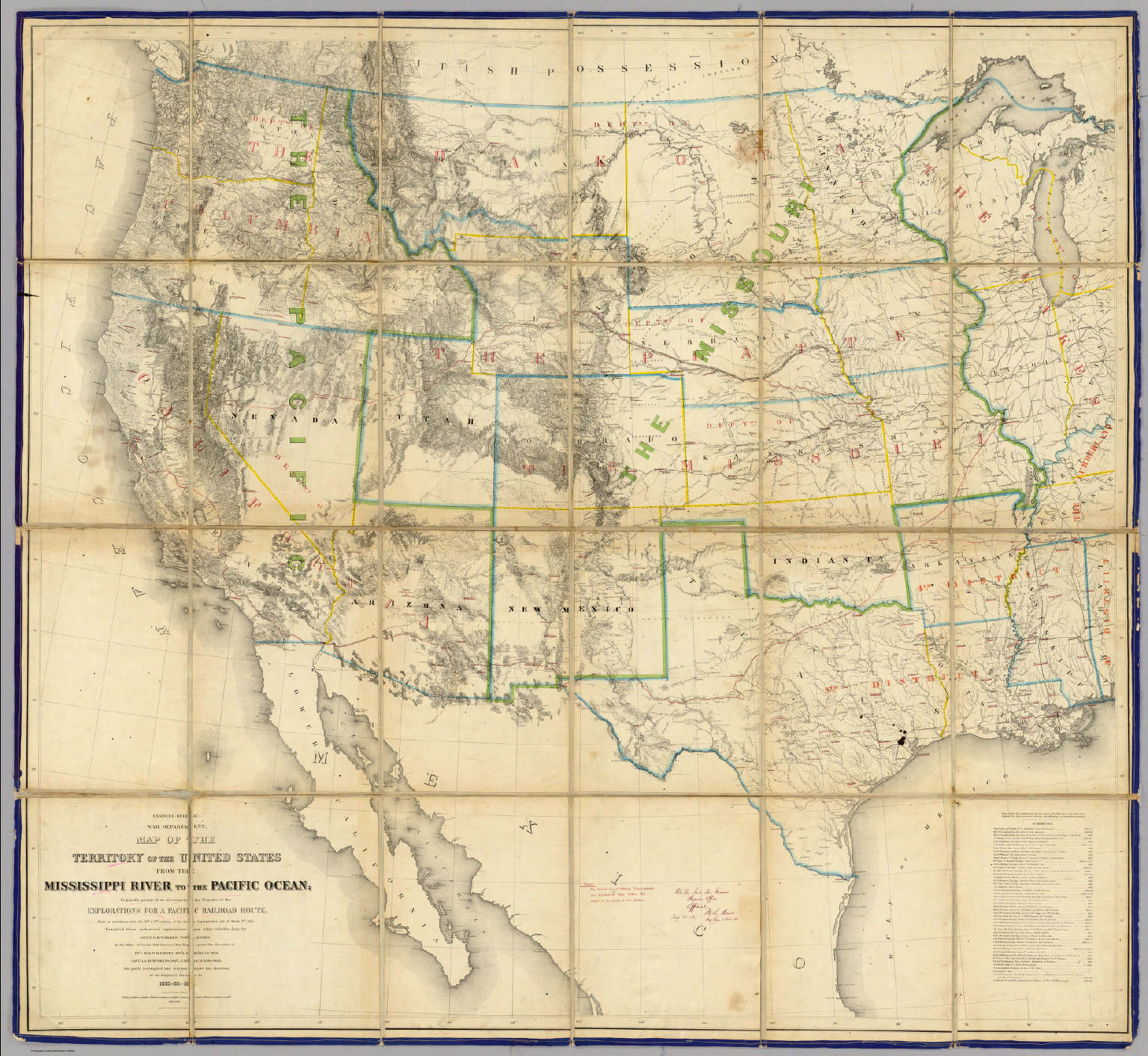 map of the territory of the united states from the mississippi river to the pacific ocean