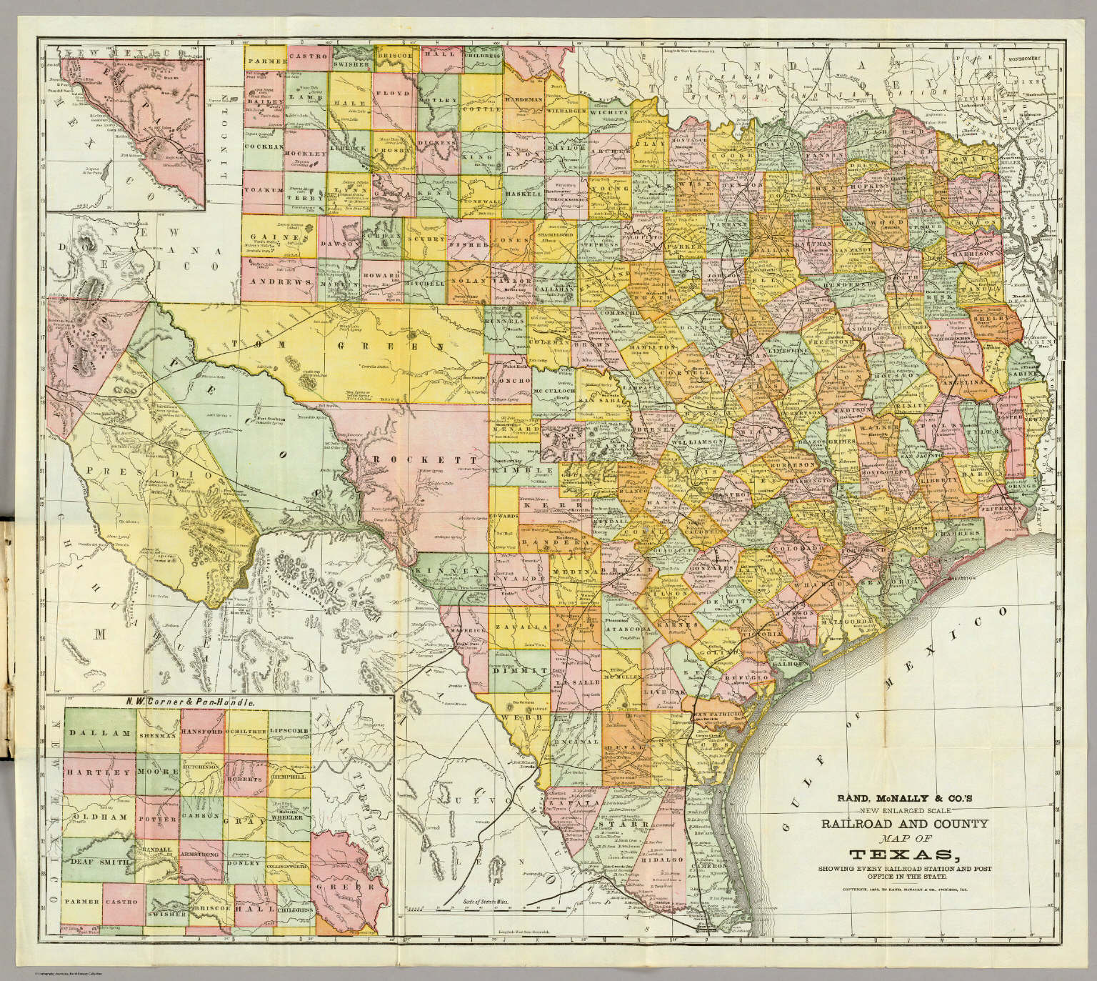 Map Of Texas County.Rand Mcnally Railroad And County Map Of Texas David Rumsey