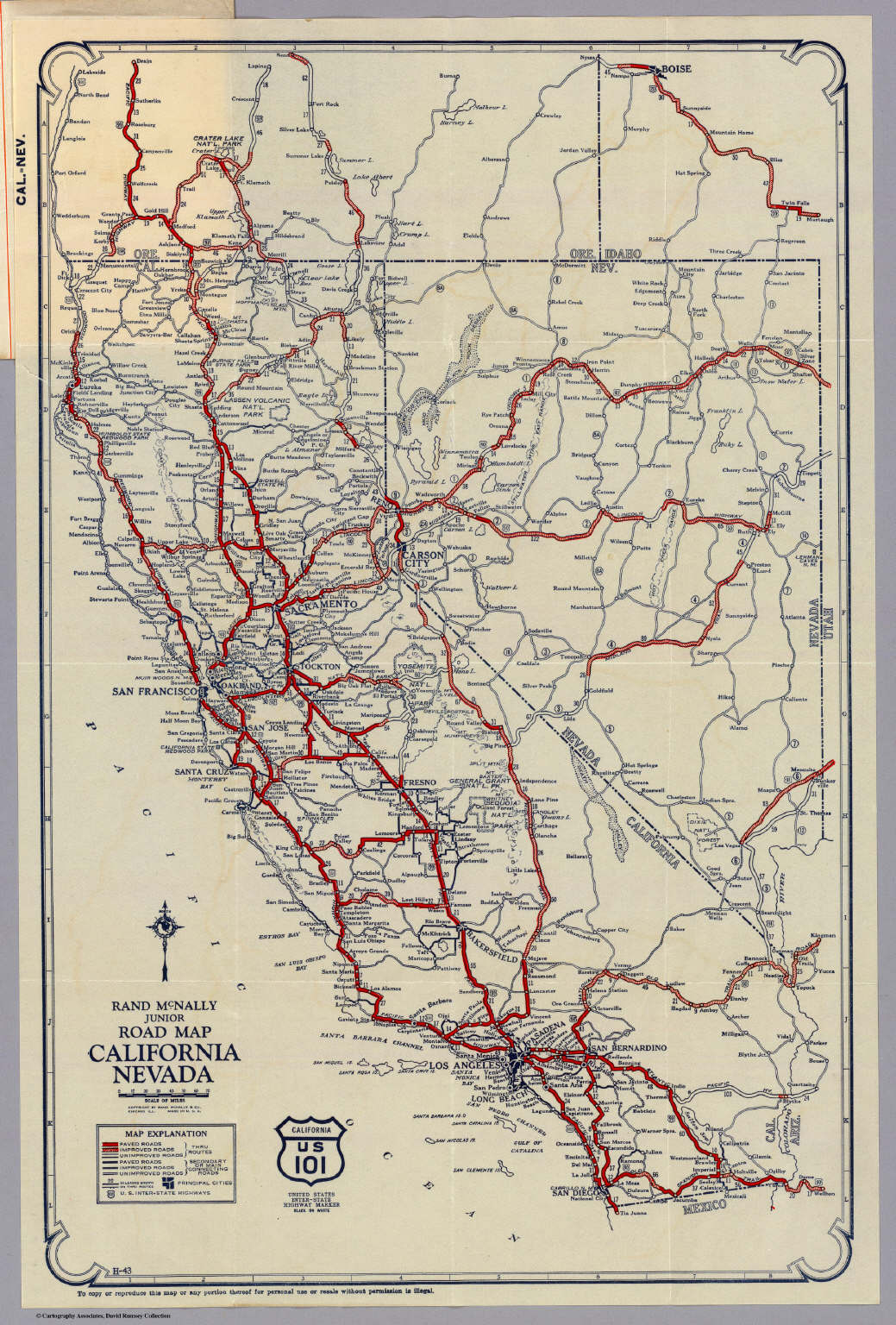 Rand McNally Junior Road Map California and Nevada David Rumsey