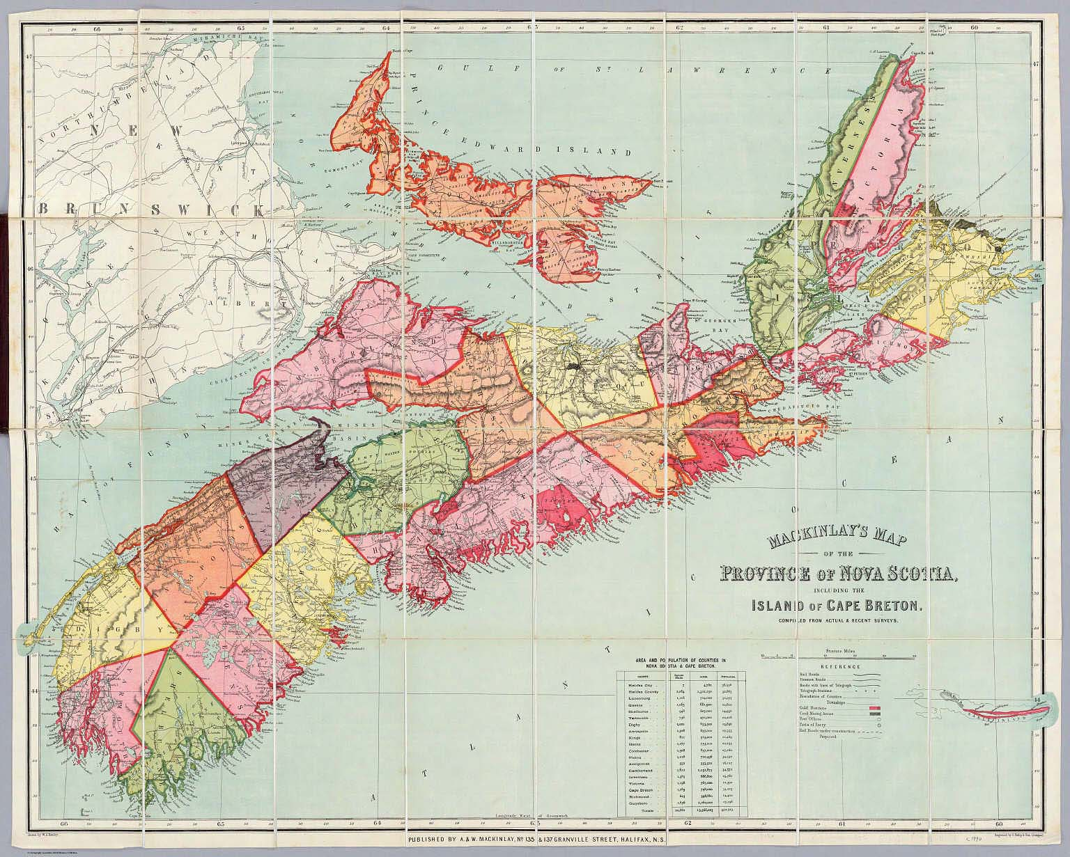 Mackinlay's map of the Province of Nova Scotia, including the island of Cape Breton.