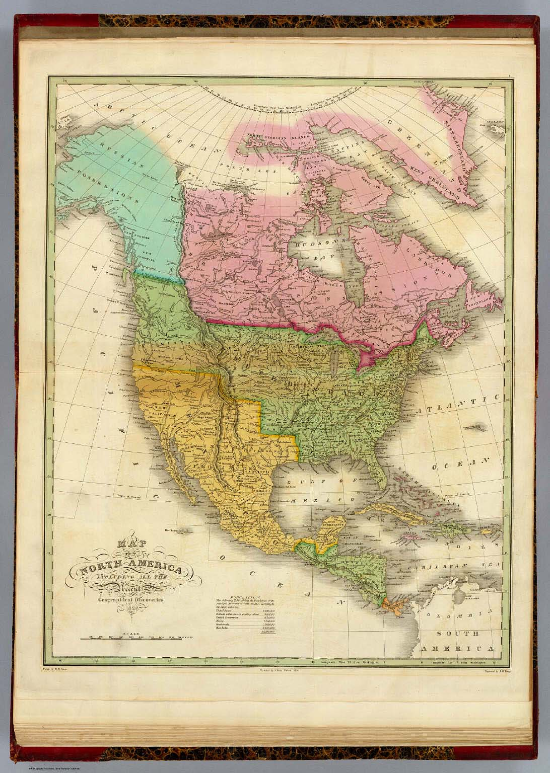 Geographical United States Map.Map Of North America Including All The Recent Geographical
