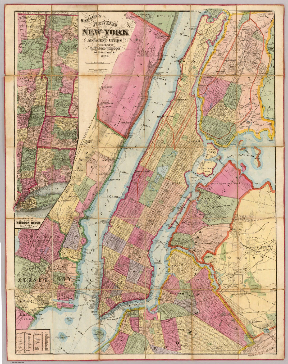 Watsons New Map Of NewYork And Adjacent Cities David Rumsey