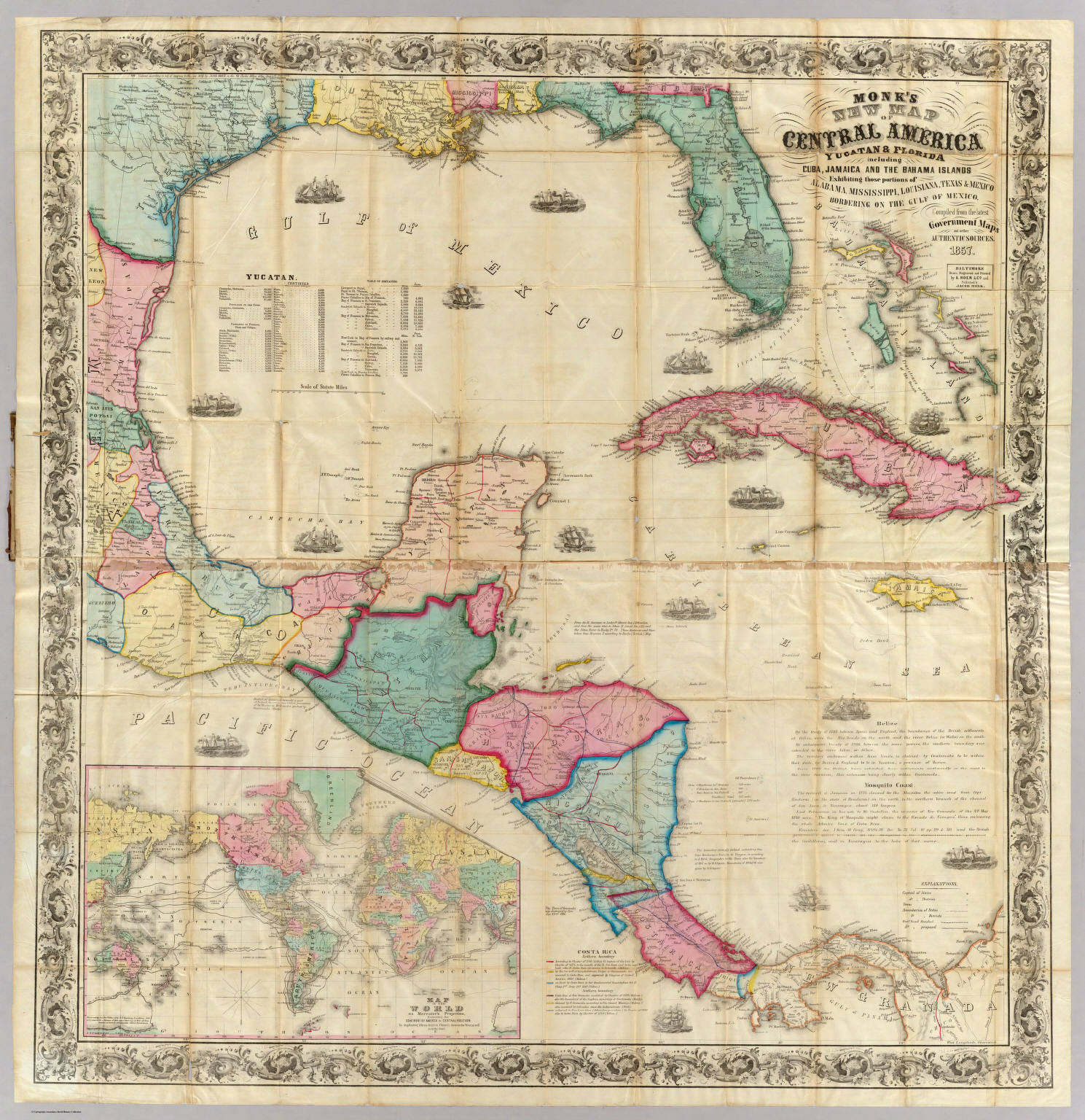 Map Of Florida And Cuba.Monk S New Map Of Central America Cuba Florida C David Rumsey