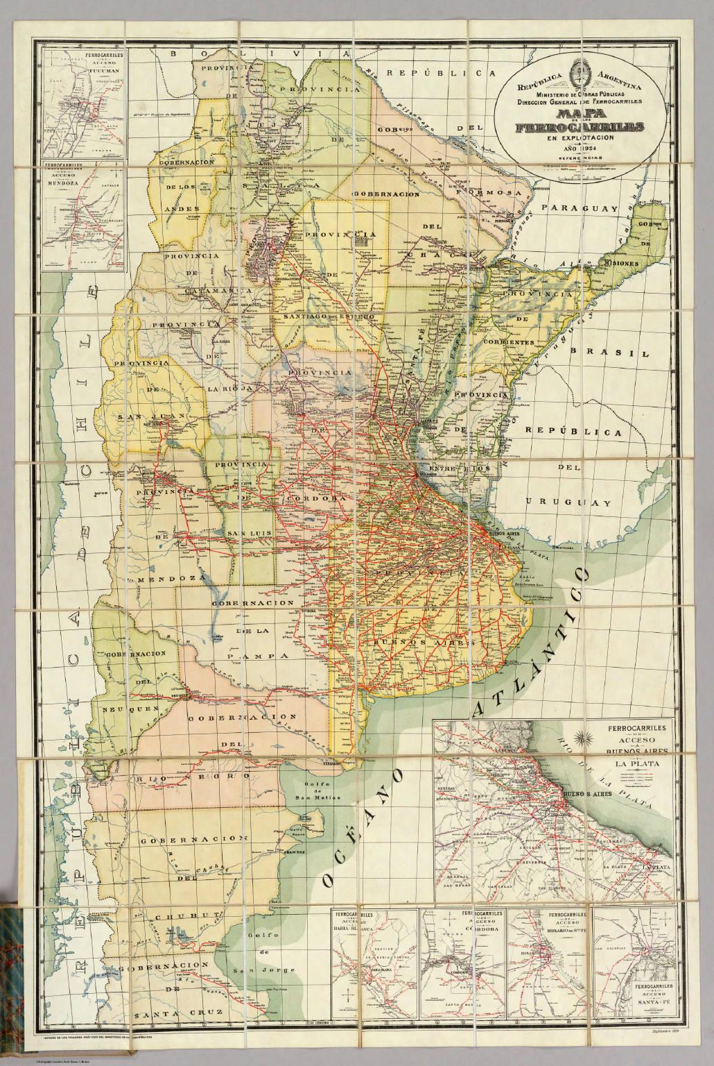 Mapa de los ferrocarriles en explotacion.
