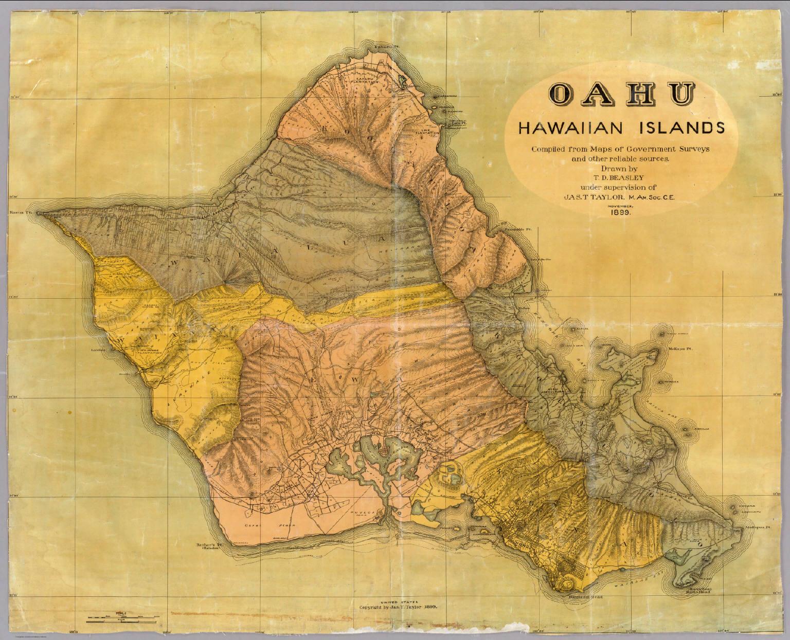 Oahu Hawaiian Islands Beasley T D Taylor Jas T 1899