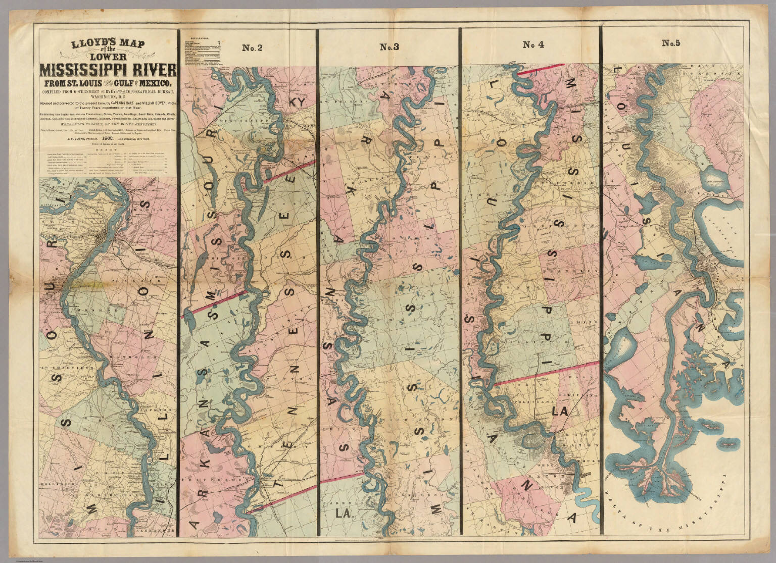 lloyds map of the lower mississippi river from st louis to the gulf of mexico