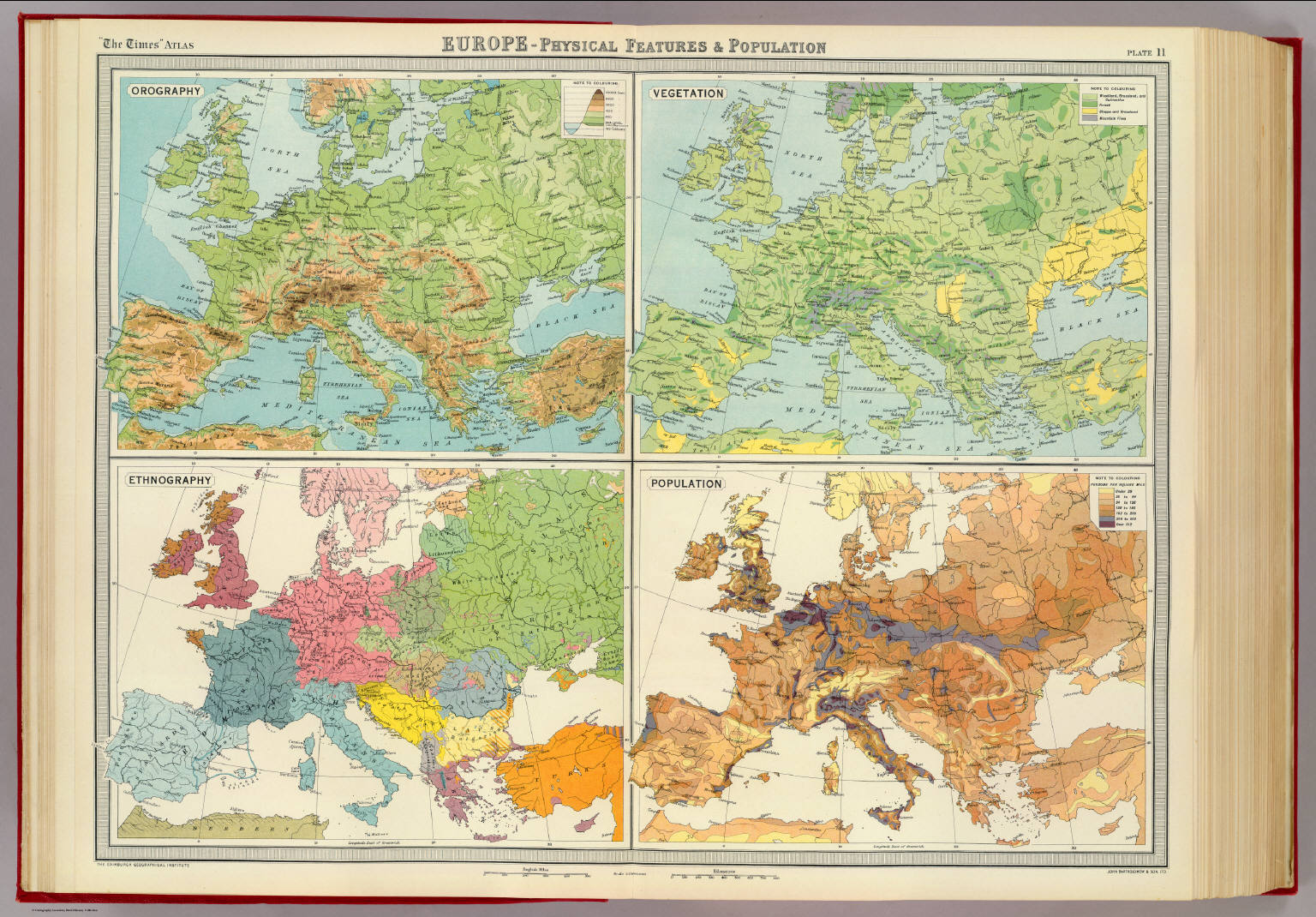 Image of: Europe Physical Features Population David Rumsey Historical Map Collection