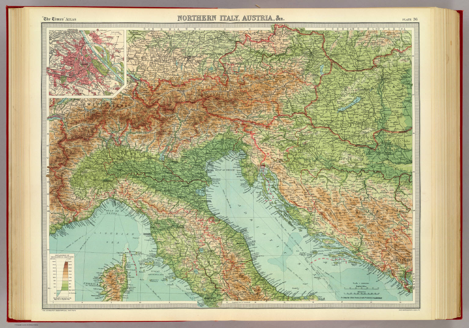 Vintage Map 1922 by Bartholomew NORTHERN ITALY /& AUSTRIA inset of Vienna