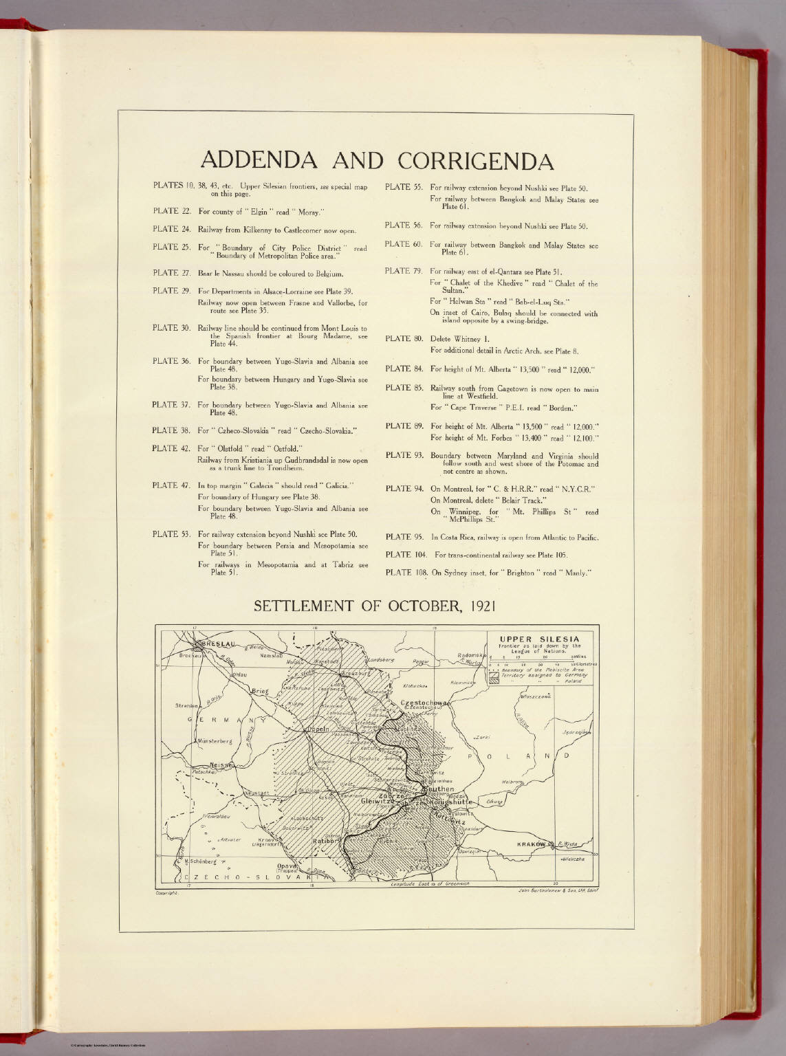 Picture of: Addenda And Corrigenda Upper Silesia 1921 David Rumsey Historical Map Collection