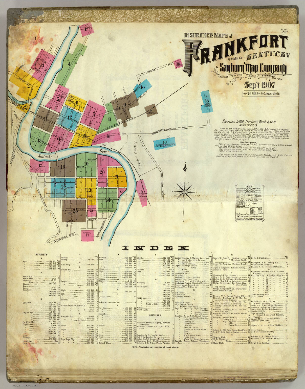 Insurance Maps Of Frankfort Kentucky Sheet Index David - The old map company