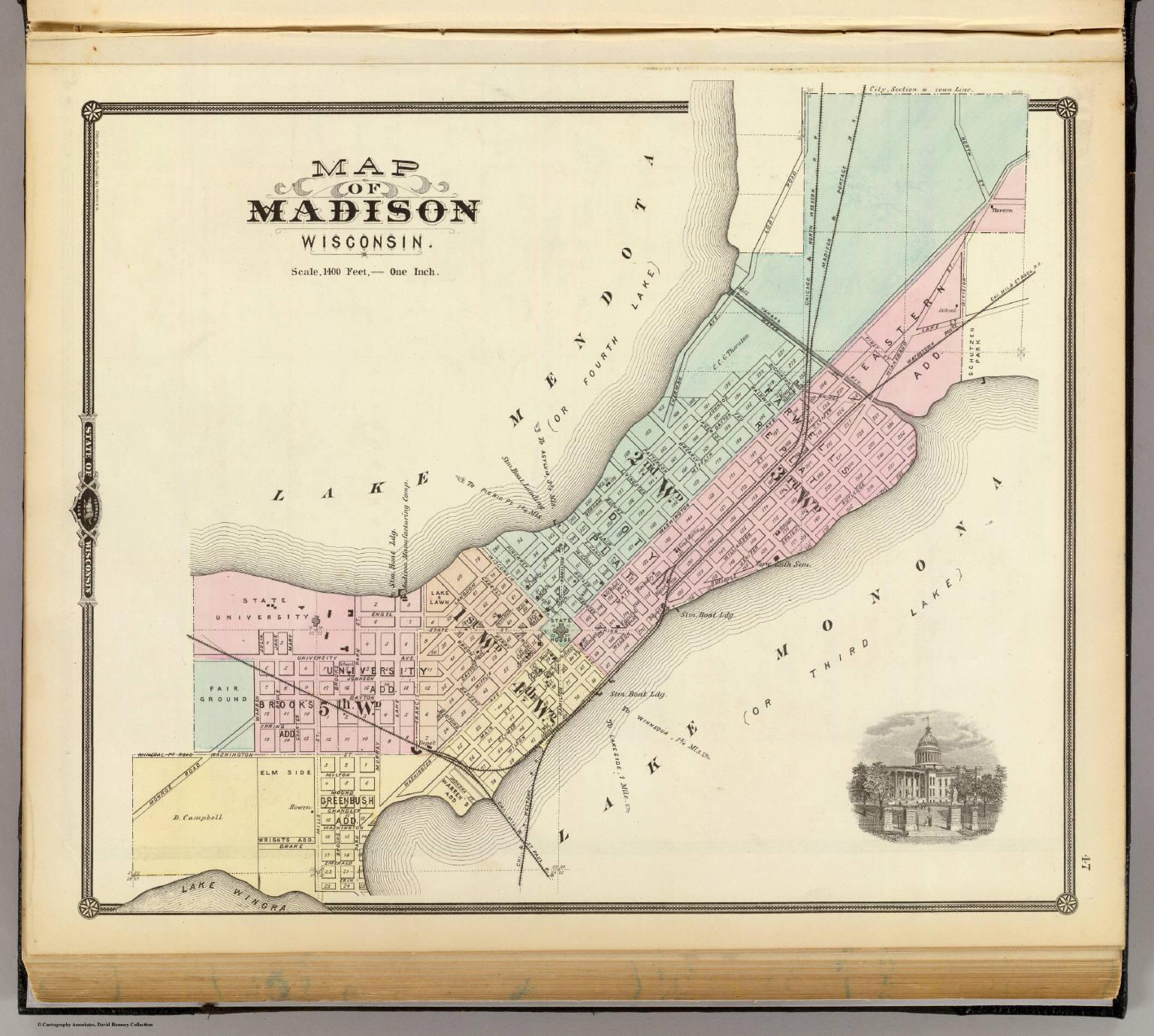 Map of Madison, Wisconsin. / Snyder, Van Vechten & Co. / 1878