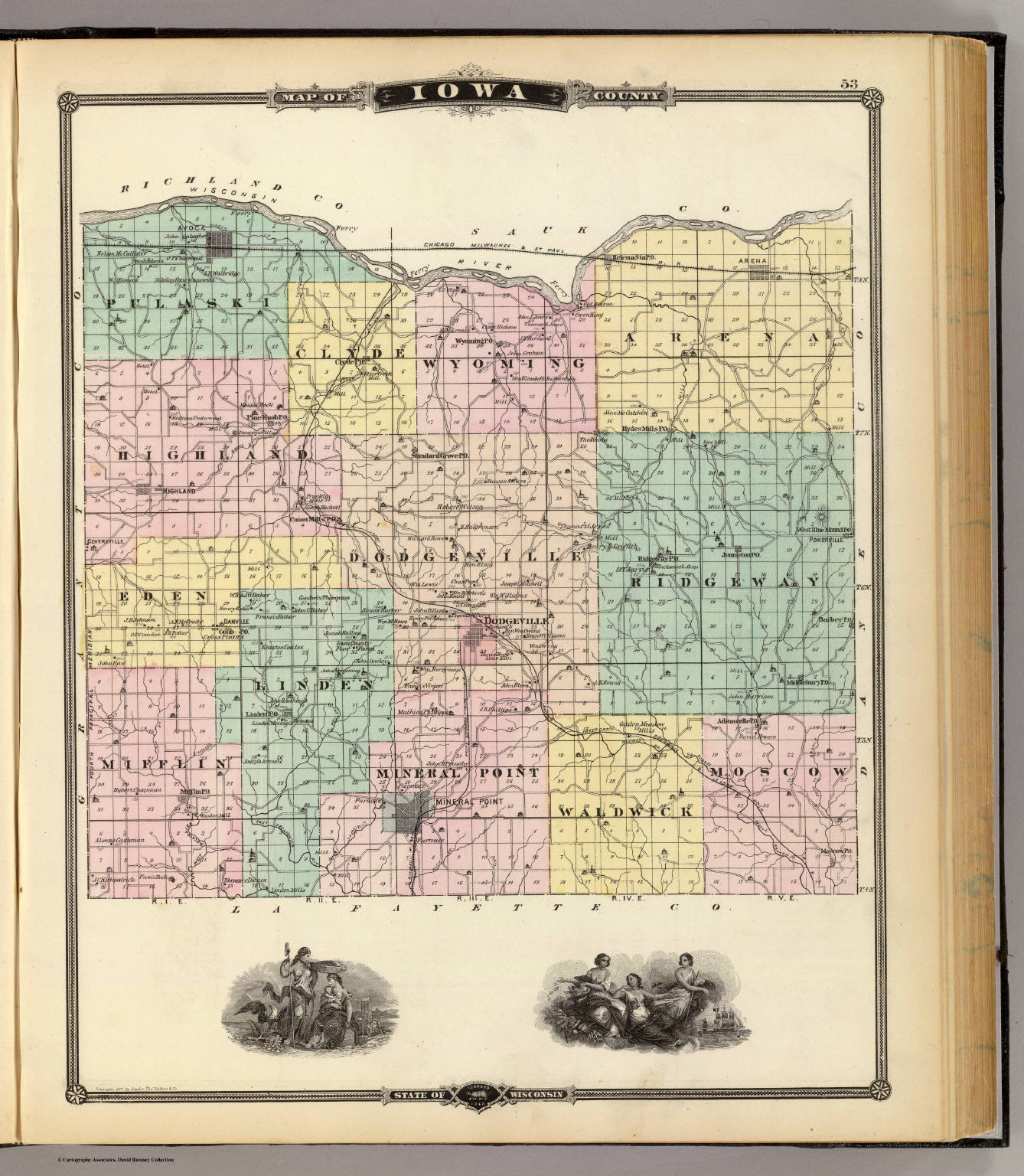 Iowa County Iowa Map.Map Of Iowa County State Of Wisconsin David Rumsey Historical